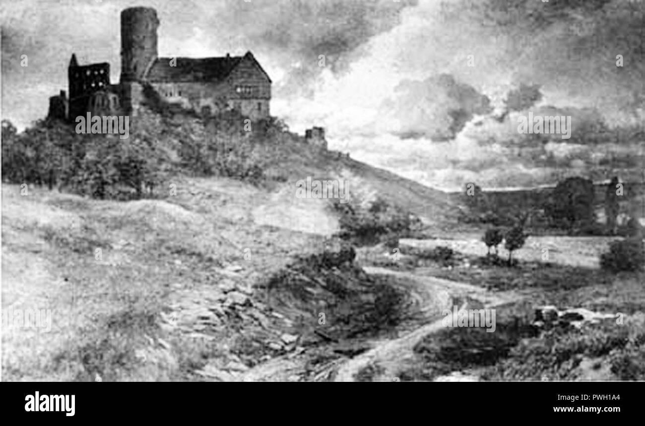 Burg Gleiberg im Jahre 1892 / 1963 Ölgemälde von F. v. Wille. Stockbild