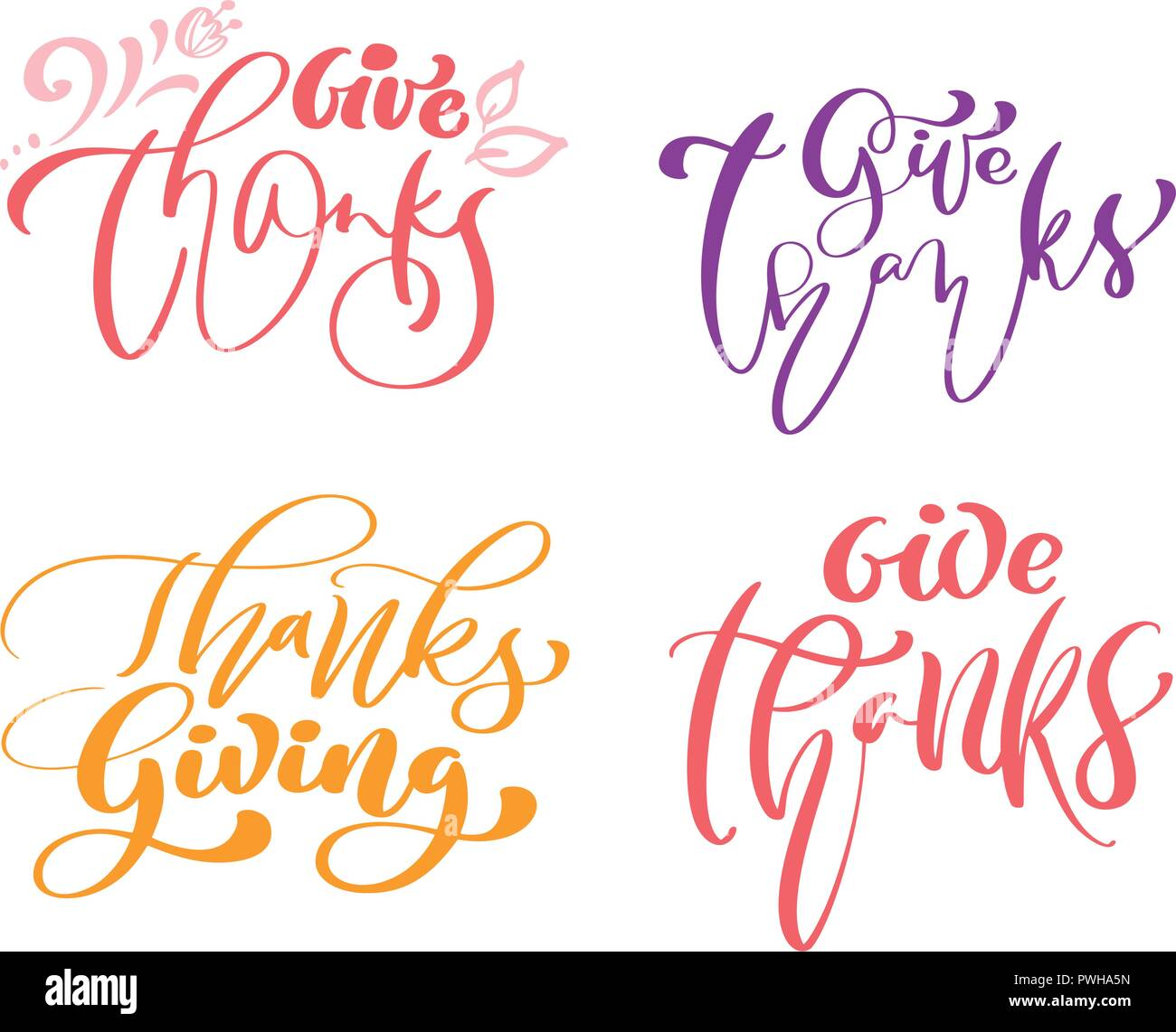 Satz Von Vier Kalligraphie Phrasen Danke Danksagung Ferienwohnung