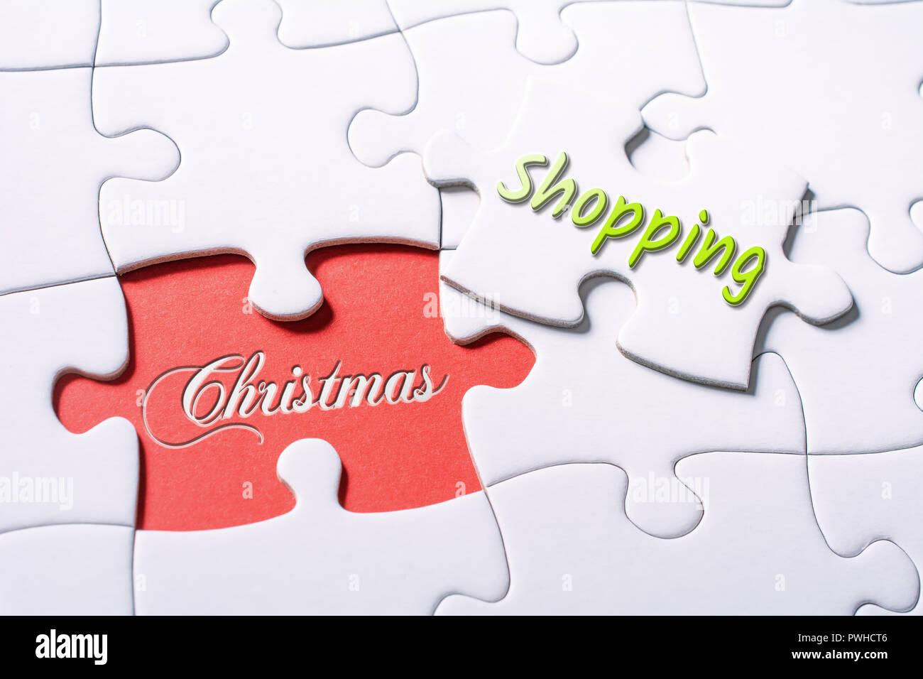Die Worte, die Weihnachten und Shopping In fehlende Stück Puzzle ...