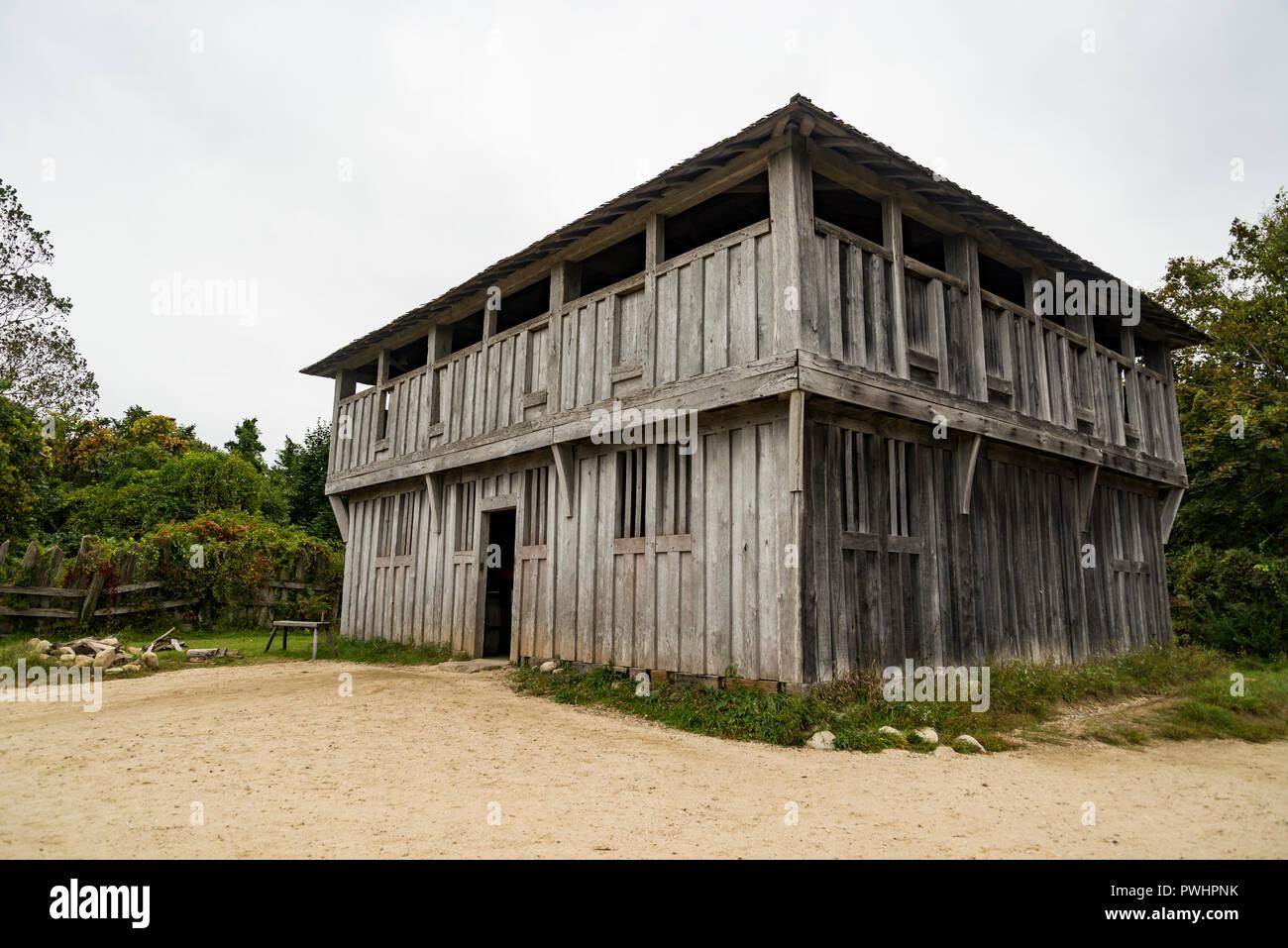Alte Gebäude in Plimoth Plantation in Plymouth, MA Stockfoto