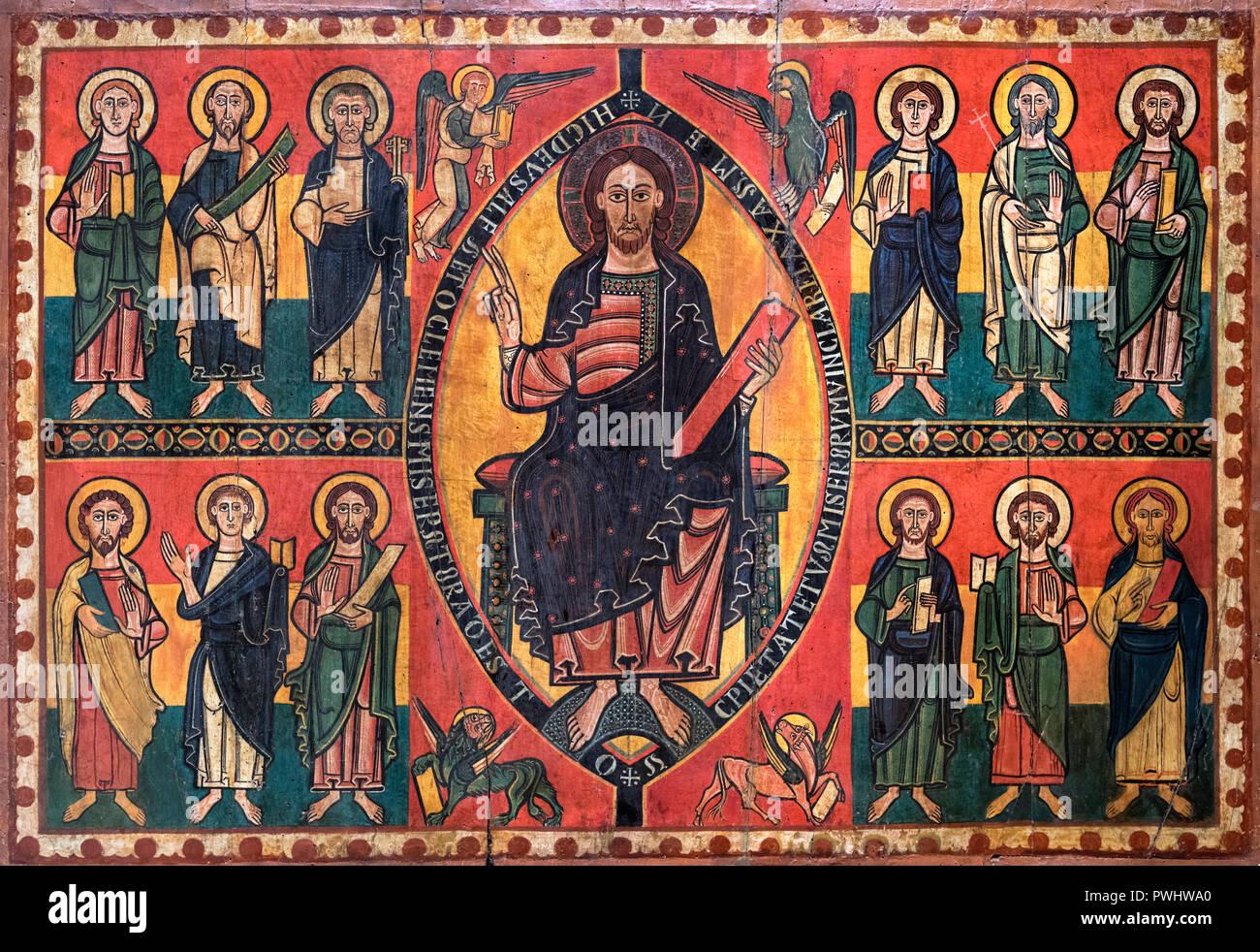 Esquius Altar vorne, eine mittelalterliche Malerei vermutlich aus der alten Kirche von Santa Maria in der Burg von luinya, aus dem 12. Jahrhundert AD, Tempera und lackierte Metallplatte auf Holz Stockbild