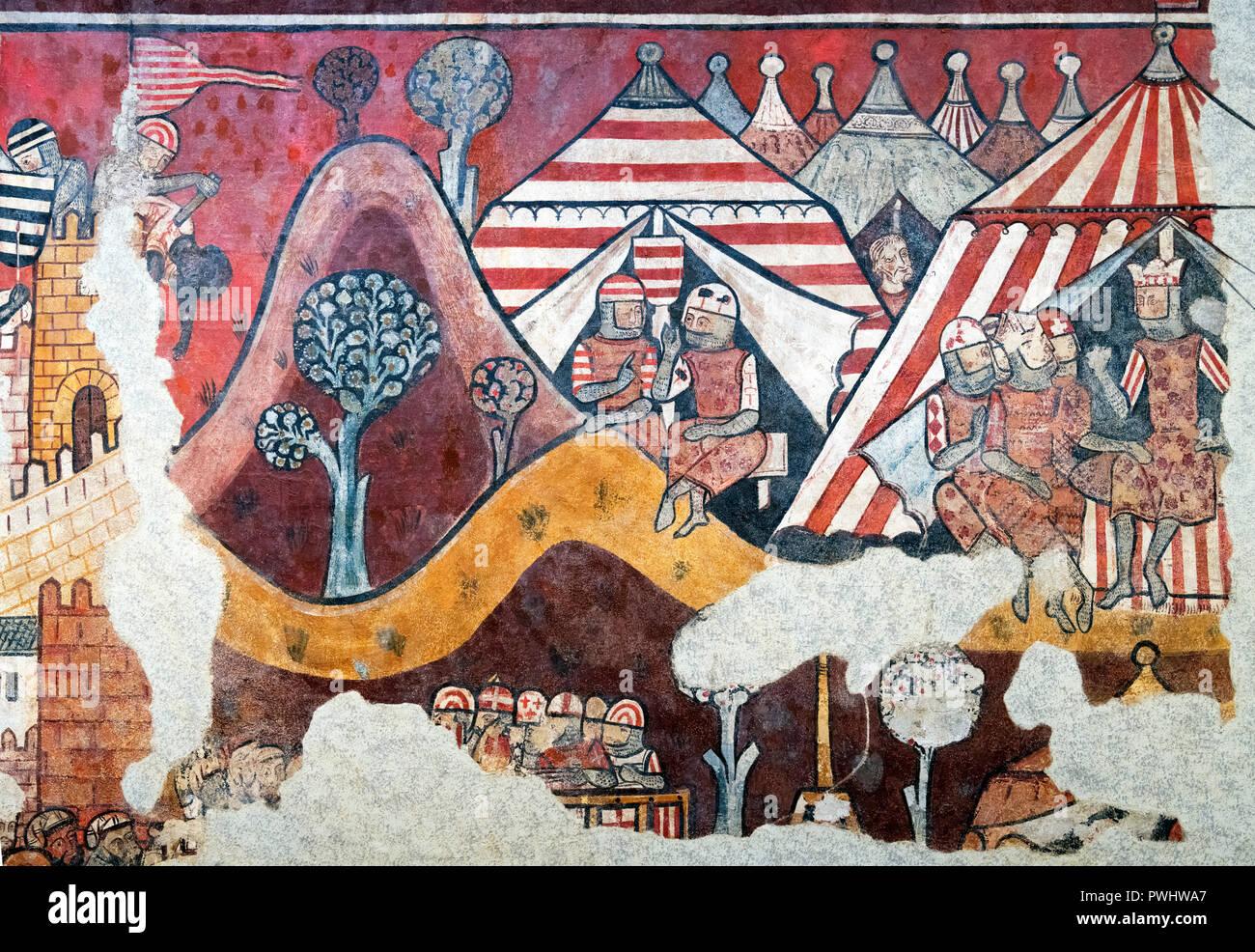 Die Eroberung von Mallorca, Panel aus einem mittelalterlichen gotischen Wandgemälde aus der Palau Aguilar, der Meister der der Eroberung Mallorcas, Fresko auf die Leinwand übertragen, c. 1285-90 Stockbild