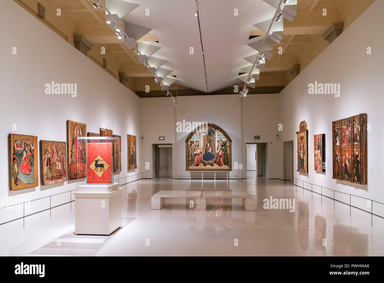 Das nationale Kunstmuseum von Katalonien - Museu Nacional d'Art de Catalunya (MNAC) - Parc de Montjuïc, Barcelona, Spanien. Stockbild