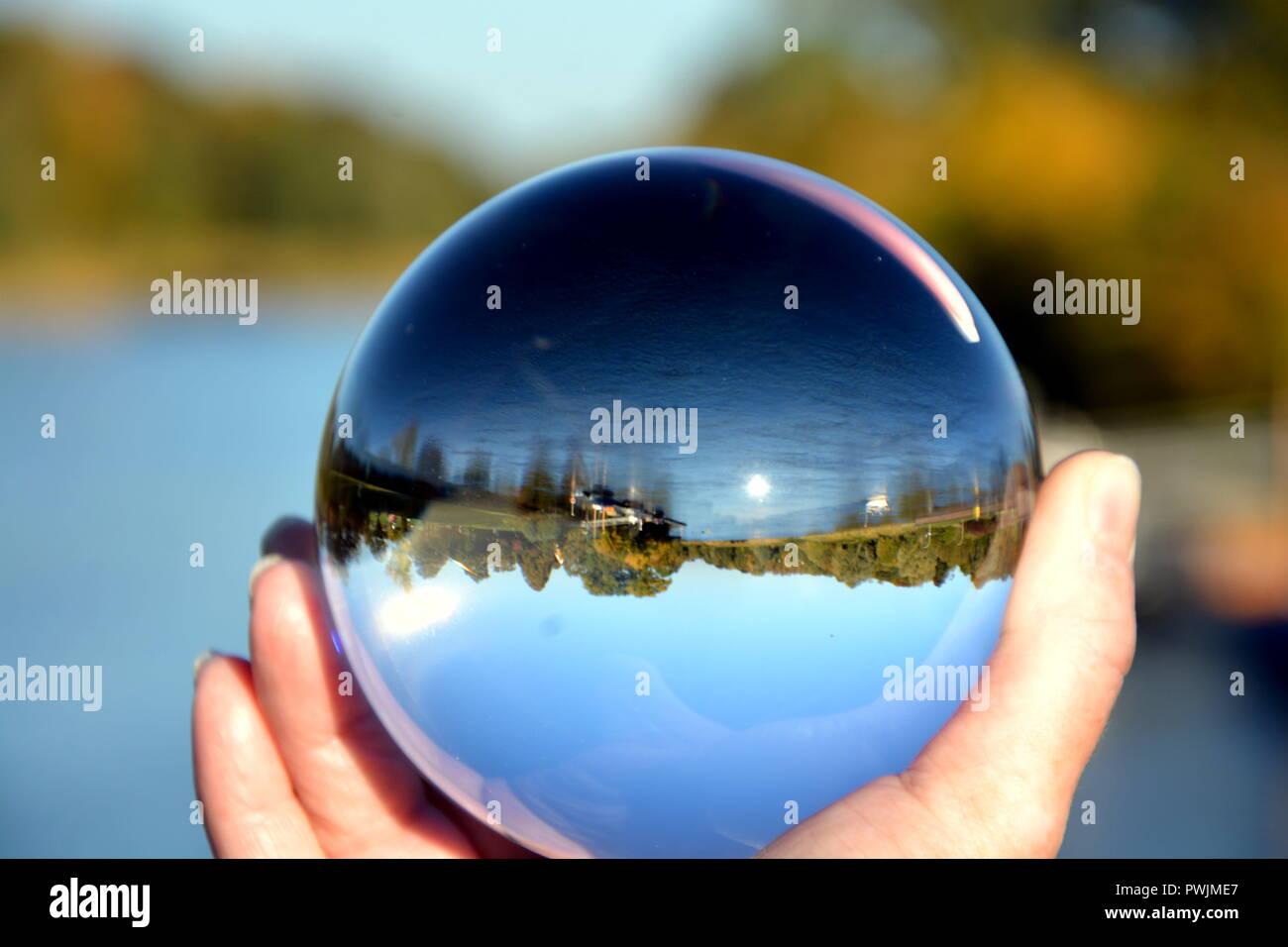 Fotokugel Glaskugel Bilder Landschaften Stockbild