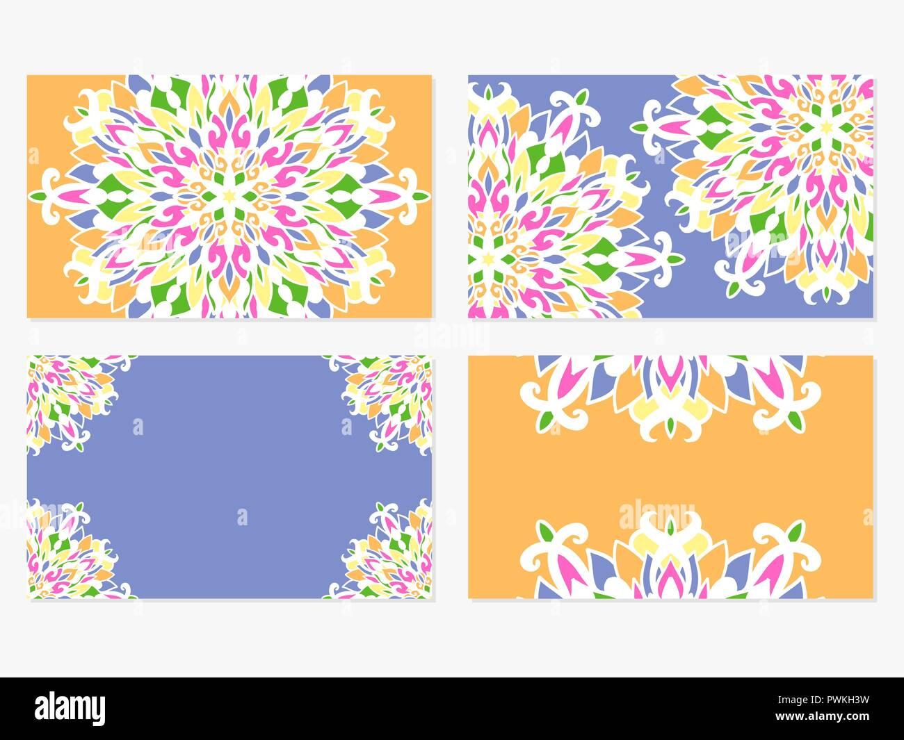 Card Templates | Satz 4 Vector Business Card Templates Schone Bunte Mandala Designs