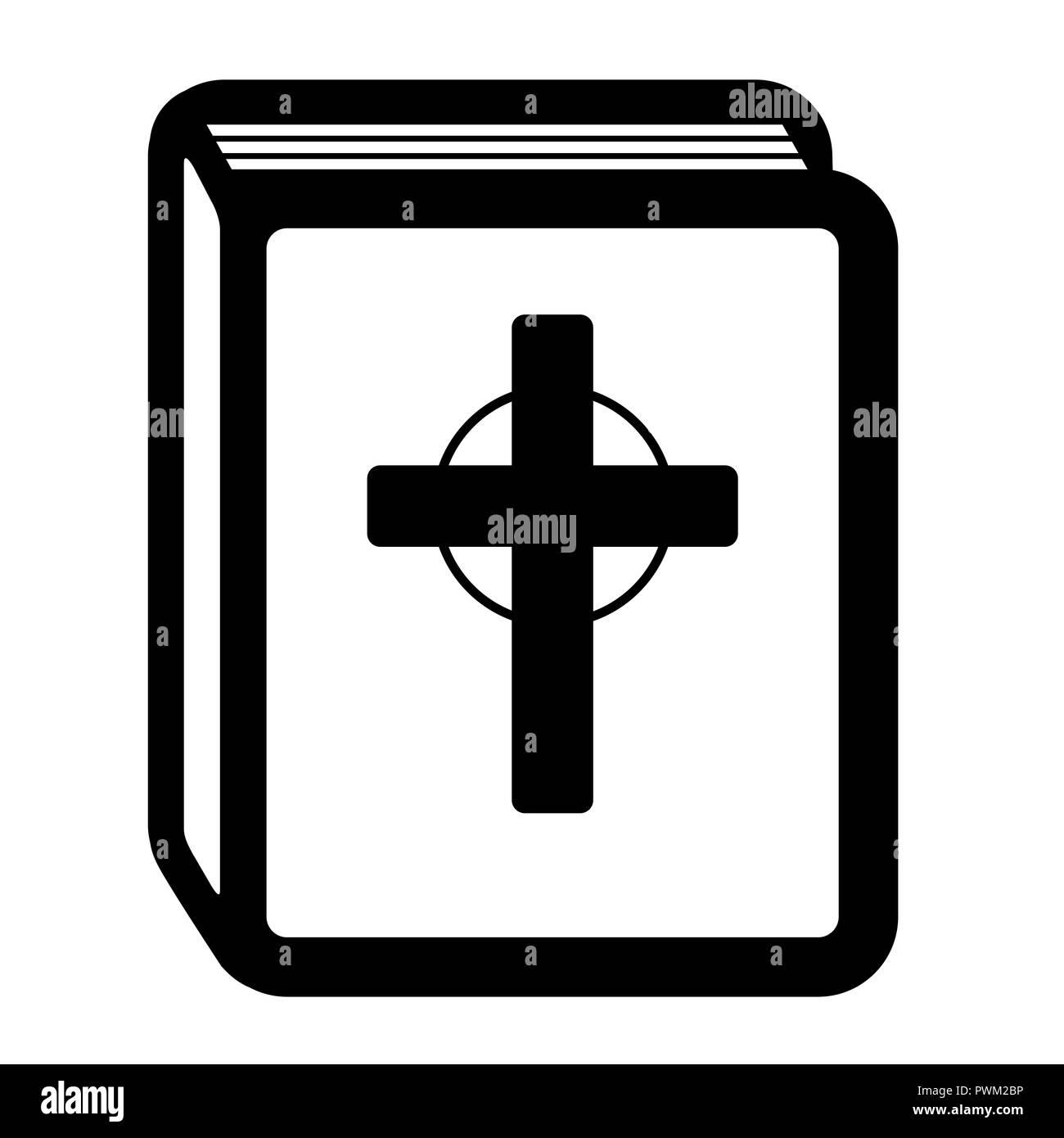 Heilige Bibel Piktogramm. Buchsymbol mit christlichen Kreuz, religiöses Symbol des Christentums. Stockbild