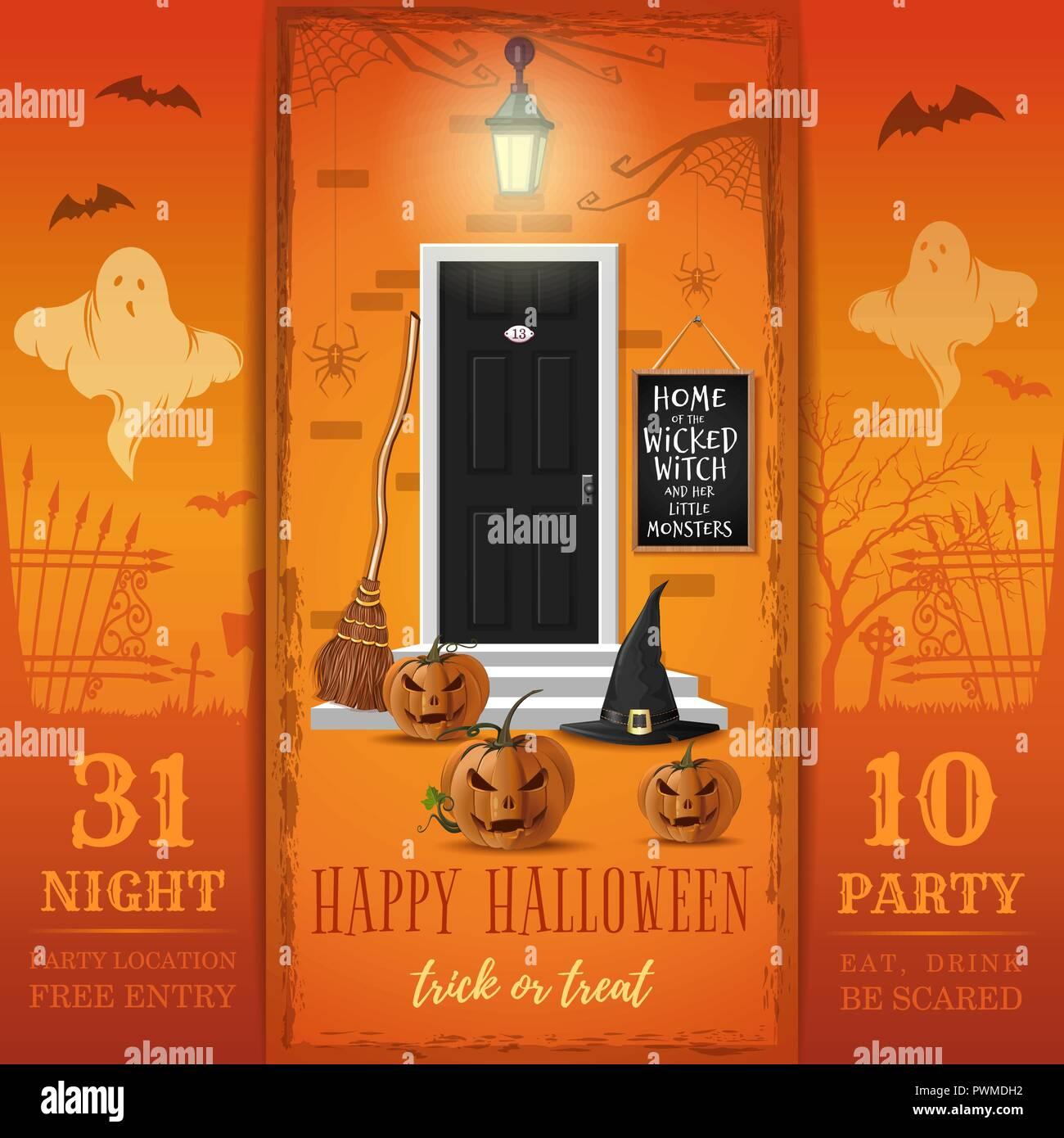 Einladungskarte für eine Halloween Party. Essen, Trinken, Angst. Haus der bösen Hexe und ihre kleinen Monster. Vector Illustration Stockbild