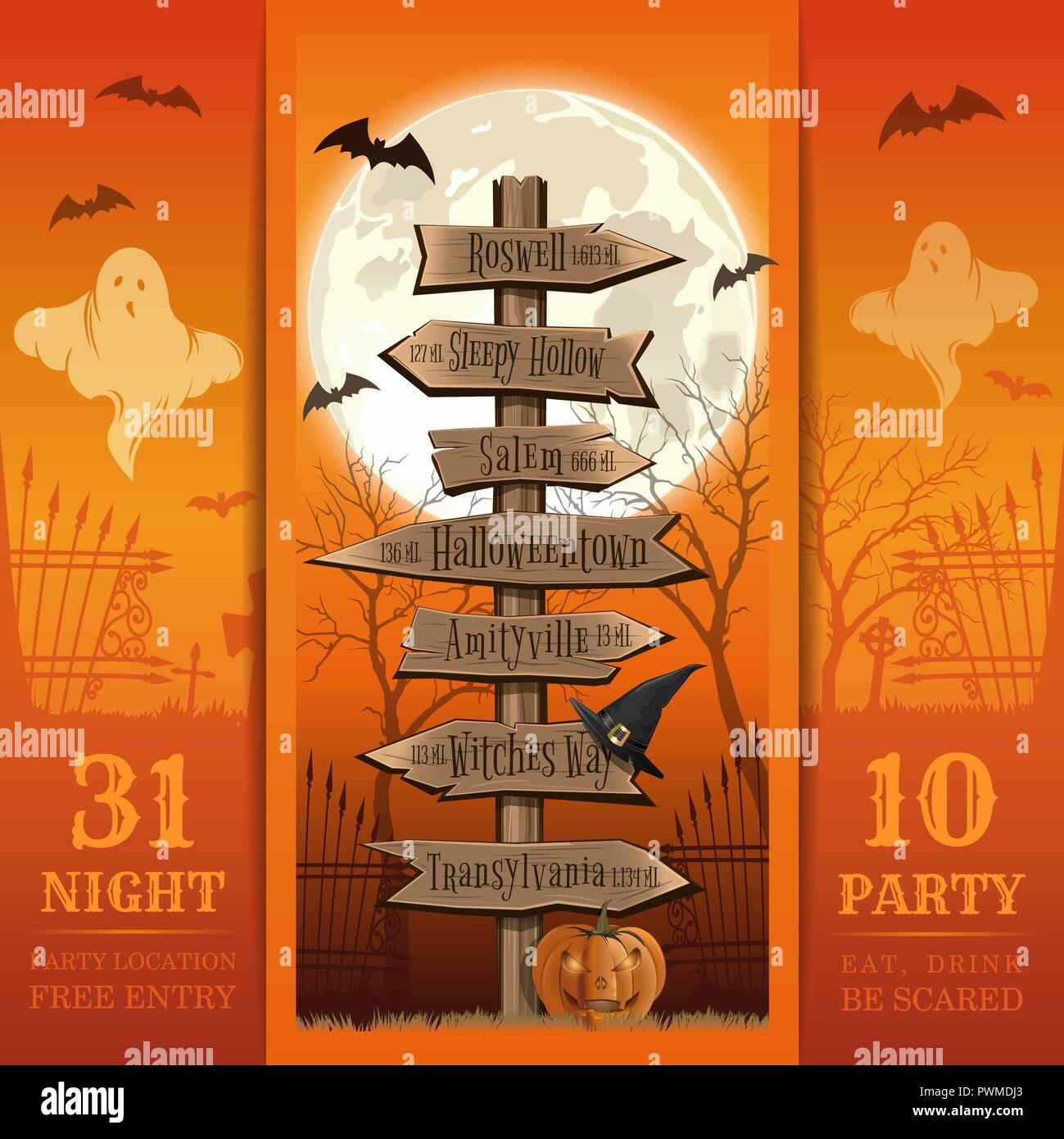 Einladungskarte für eine Halloween Party. Essen, Trinken, Angst. Halloween Design. Halloween vintage Road Sign. Vector Illustration Stockbild
