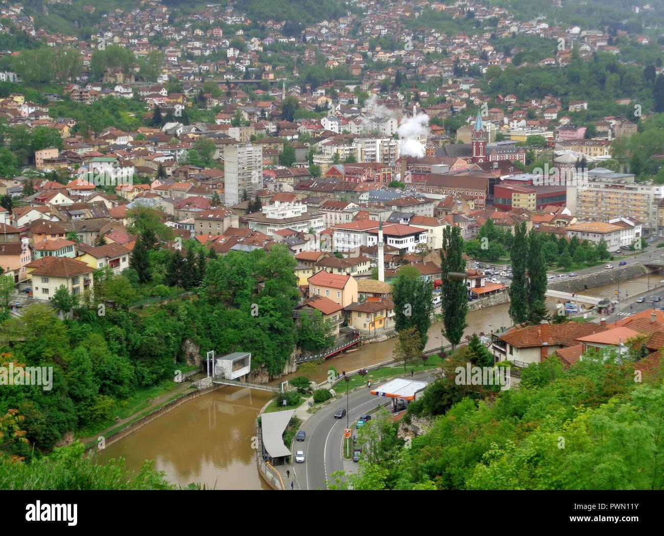Beautiful View Of The City Of Sarajevo Stockfotos & Beautiful View ...