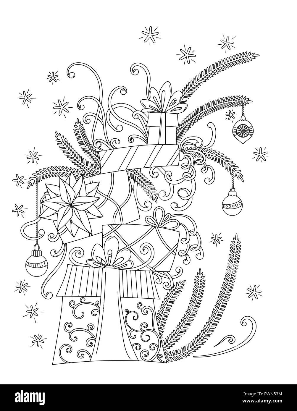Weihnachten Malvorlagen. Malbuch für Erwachsene. Stapel von Urlaub präsentiert. Weihnachtsdekoration, cartoon Geschenkboxen, Bändern, Kugeln, Sternen und Schneeflocken. Hand Überblick Vector Illustration gezeichnet. Stock Vektor