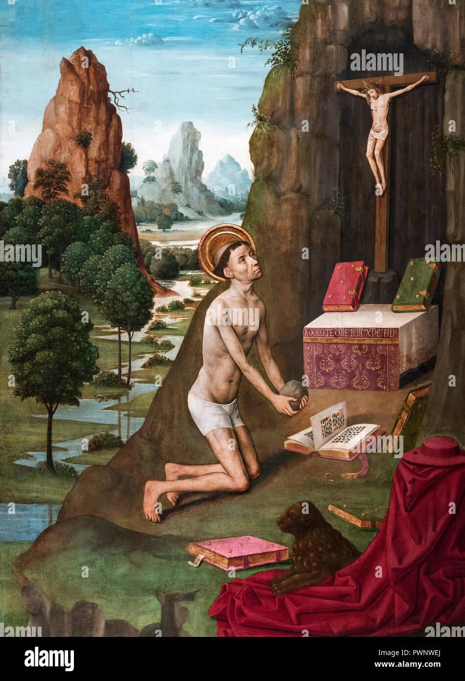 Der heilige Hieronymus Büßer von Meister von La Seu d'Urgell; Öl, Stuck und Blattgold auf Holz; c 1495 Stockbild