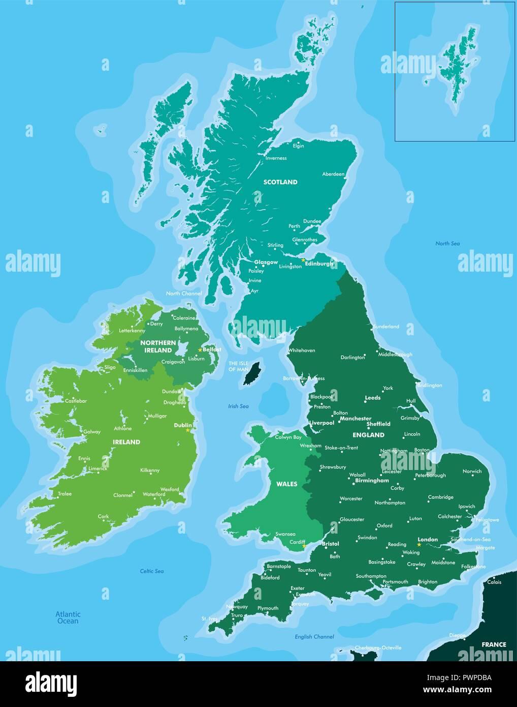 karte gb und irland Farbe Karte von Großbritannien und Irland detaillierte Vector