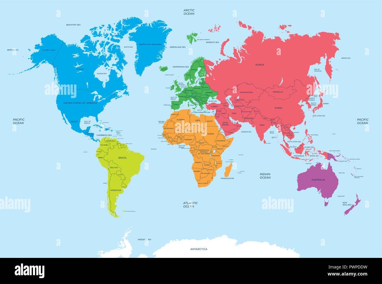 Karte Kontinente Welt.Kontinente Der Welt Und Politische Karte Vector Illustration