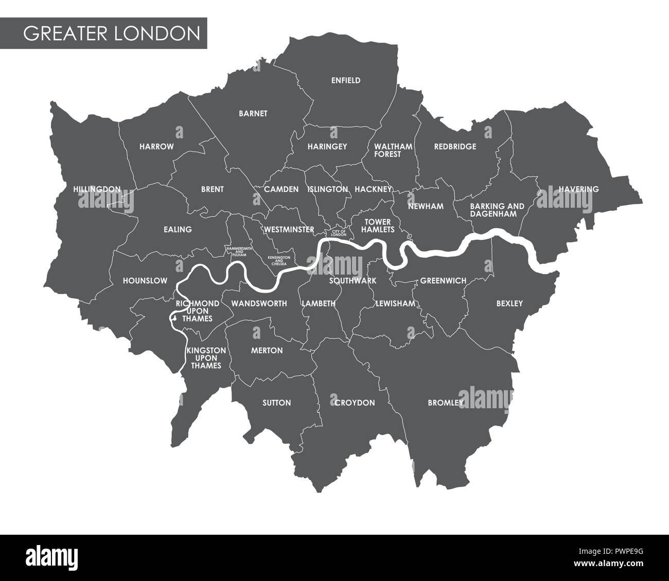 Karte London Stadtteile.Vektor Greater London Administrative Karte Detaillierte Plan