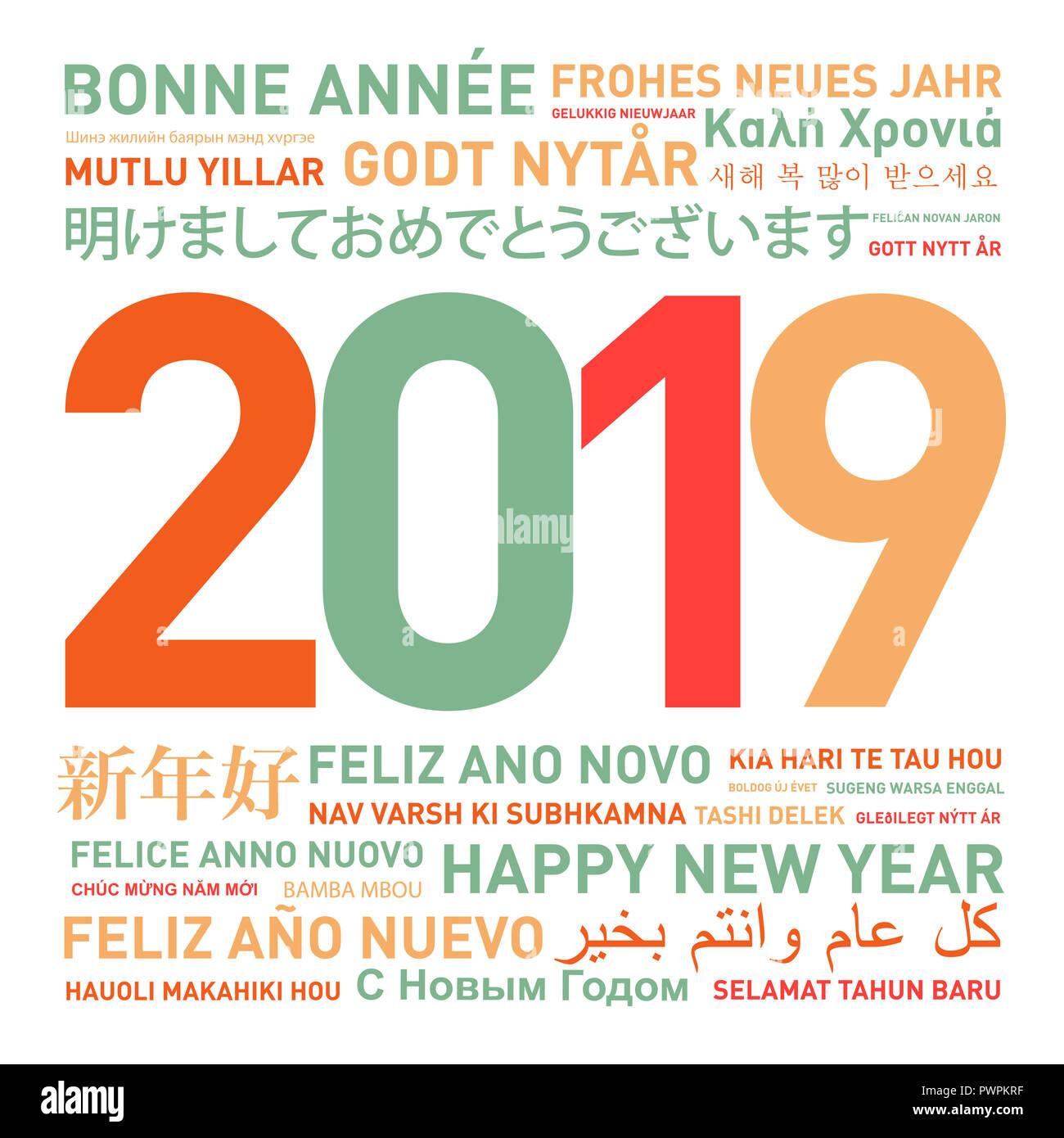 Frohe Weihnachten Und Ein Glückliches Neues Jahr In Allen Sprachen.2019 Frohes Neues Jahr Stockfotos 2019 Frohes Neues Jahr Bilder