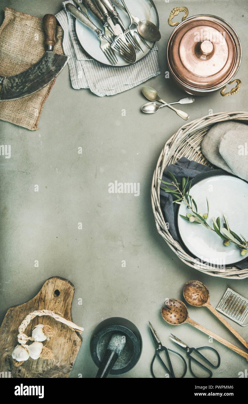 Essen Kochen Minimalistischen Hintergrund Flachbild Lay Der