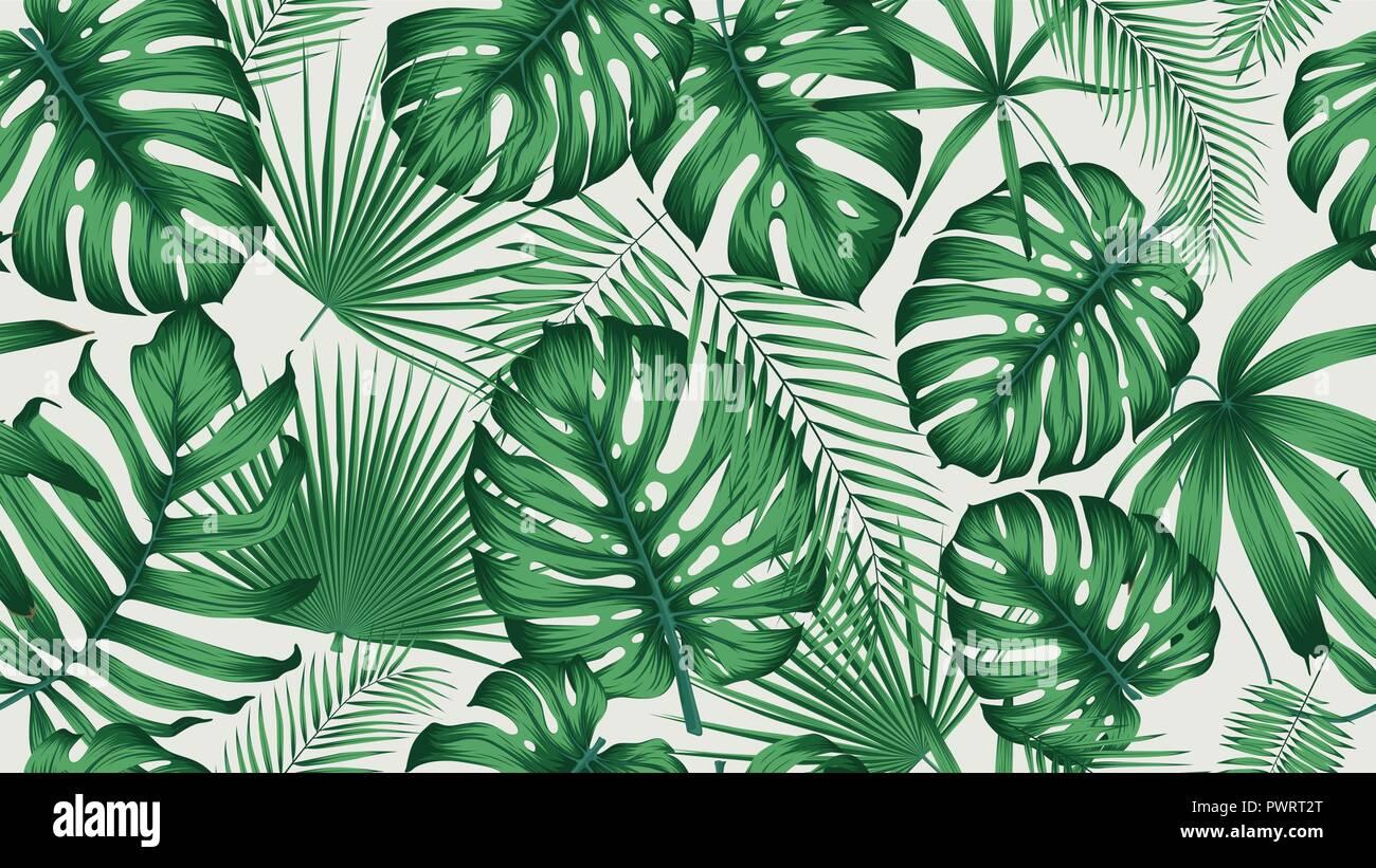 Handgezeichnete Tropische Pflanzen Muster 6