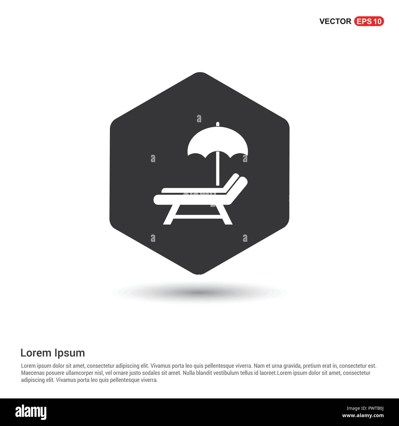 Sonnenschirm Und Bett Symbol Hexa Weissen Hintergrund Symbol Vorlage