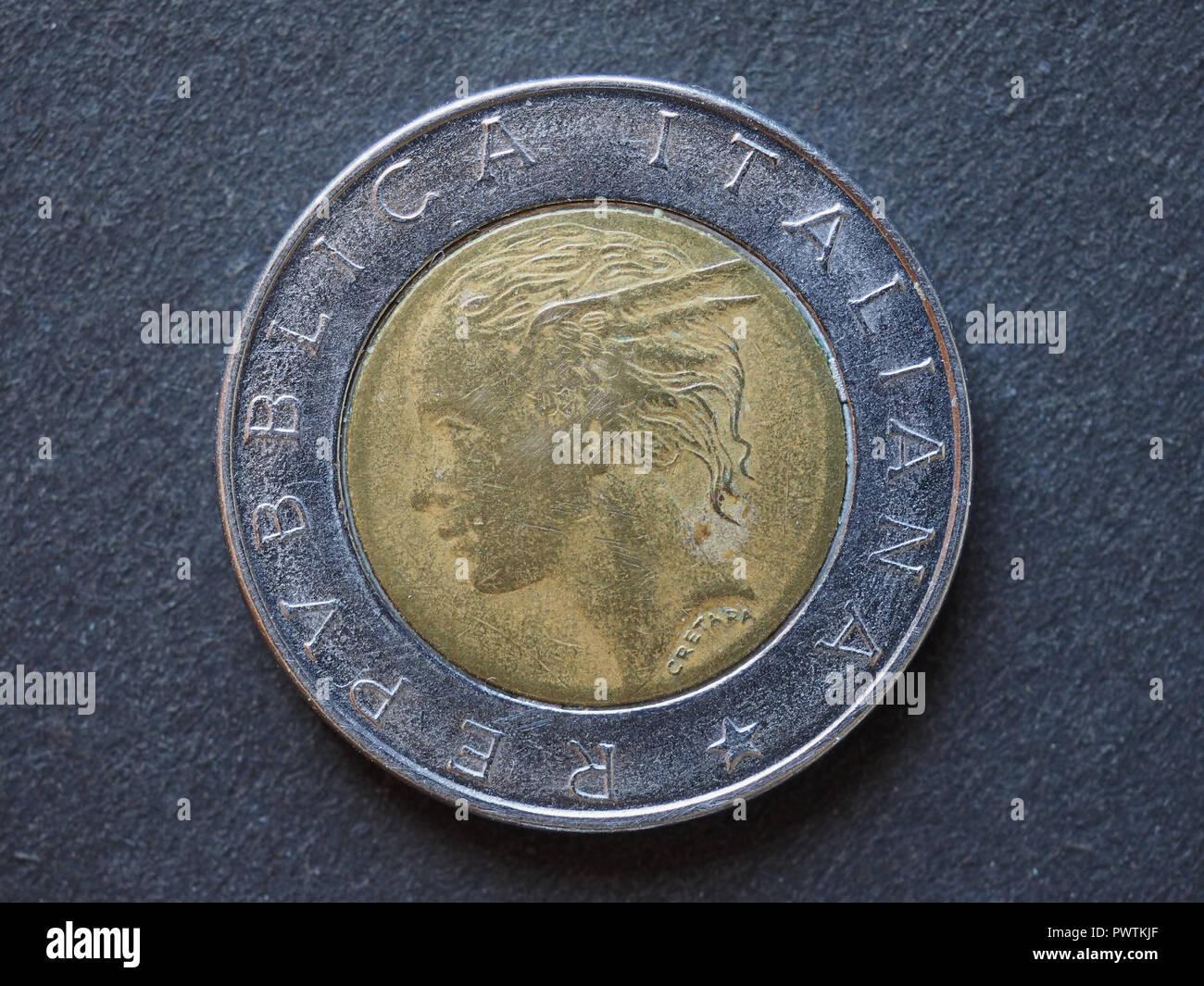 500 Lira Itl Münze Geld Währung Von Italien Stockfoto Bild