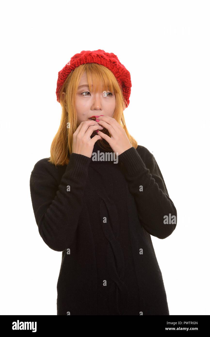 Junge süße asiatische Frau suchen Angst und Angst Stockbild