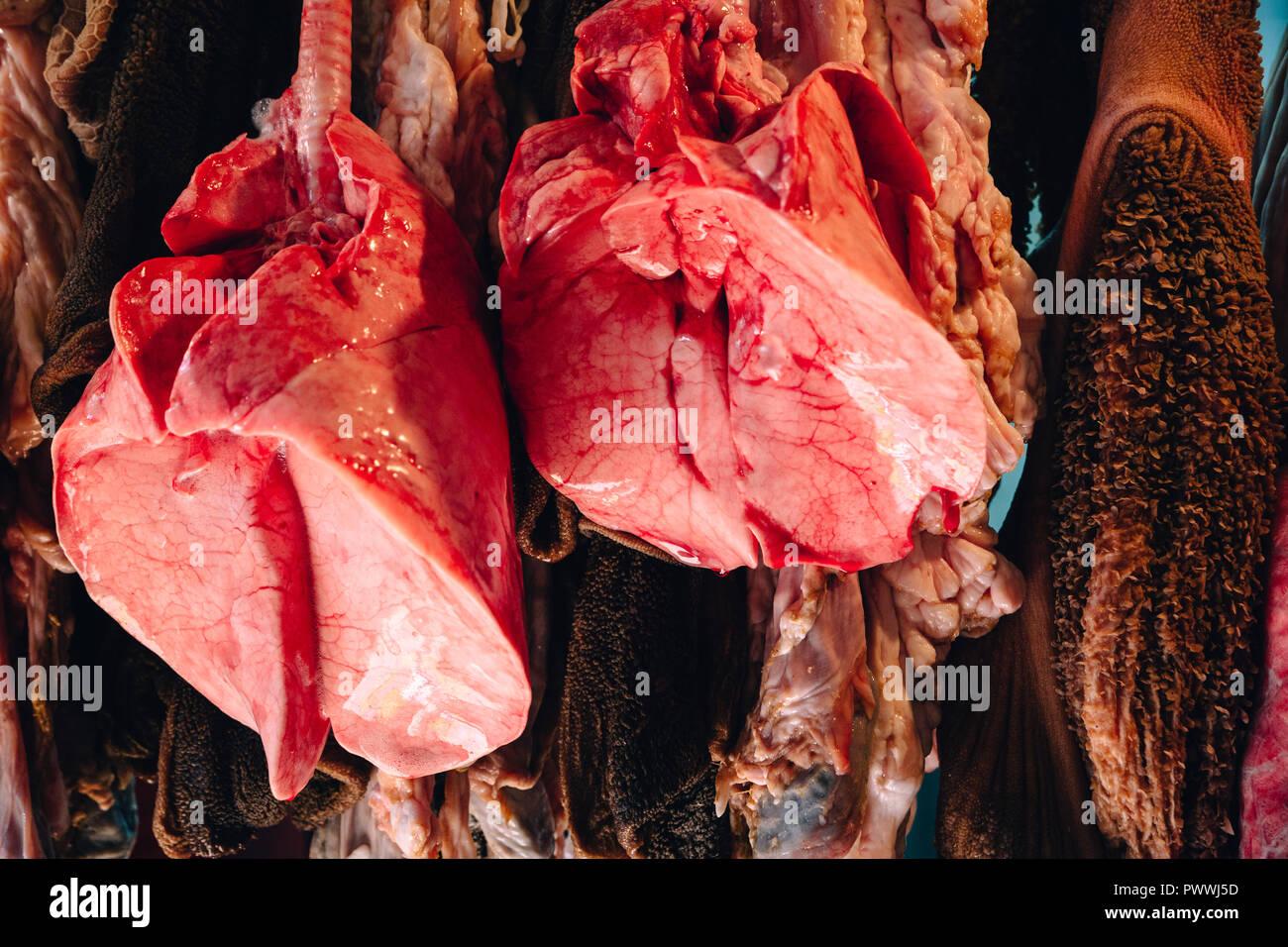 Fleisch und Fisch Markt, Tanger, Marokko, 2018 Stockbild
