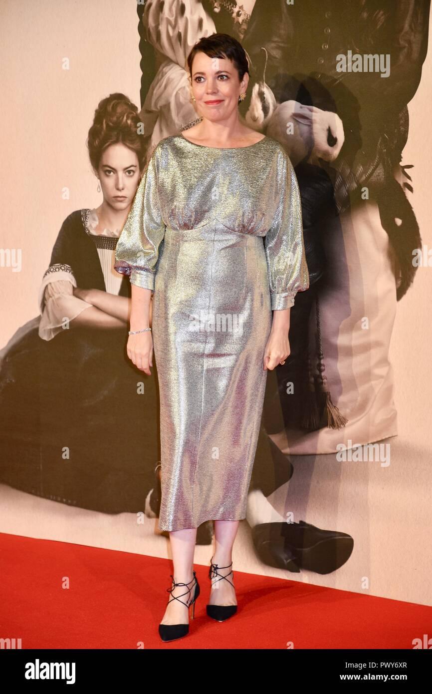 "London, Großbritannien. Okt, 2018 18. Olivia Coleman, ""Der Favorit"" Premiere, BFI London Film Festival, London.UK Credit: michael Melia/Alamy leben Nachrichten Stockbild"