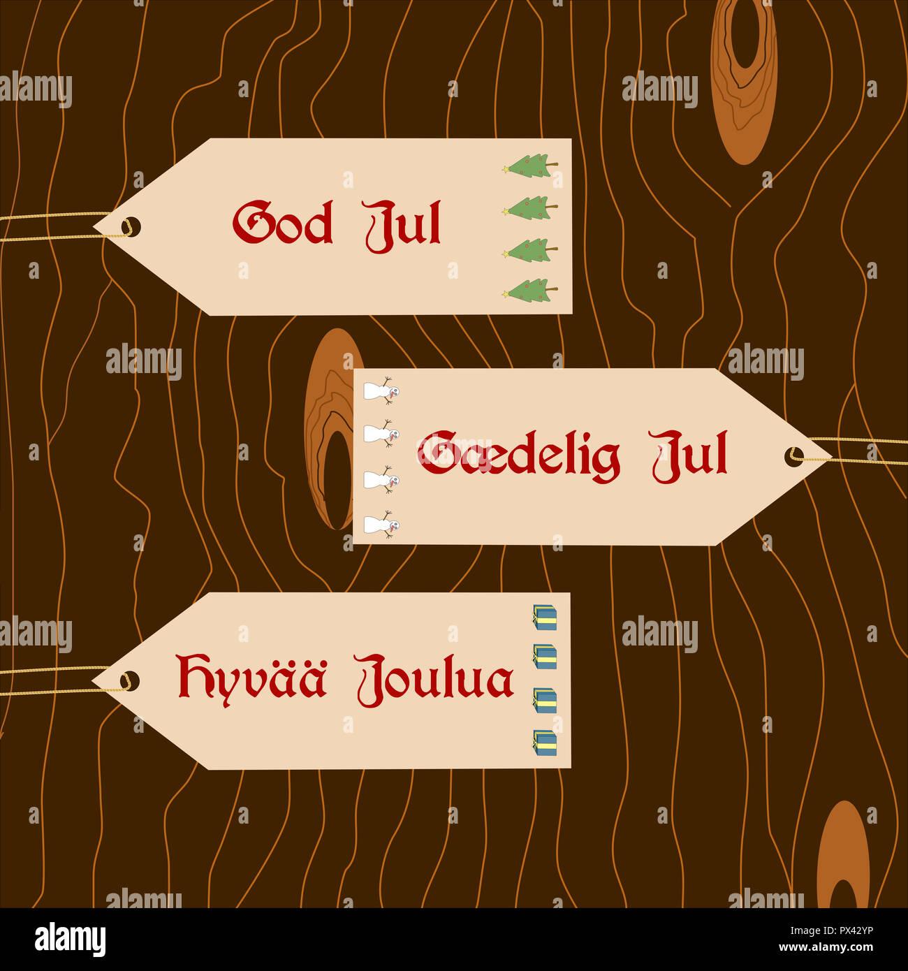 Frohe Weihnachten Norwegisch.Skandinavische Wünsche Karten Mit Frohe Weihnachten In Dänisch