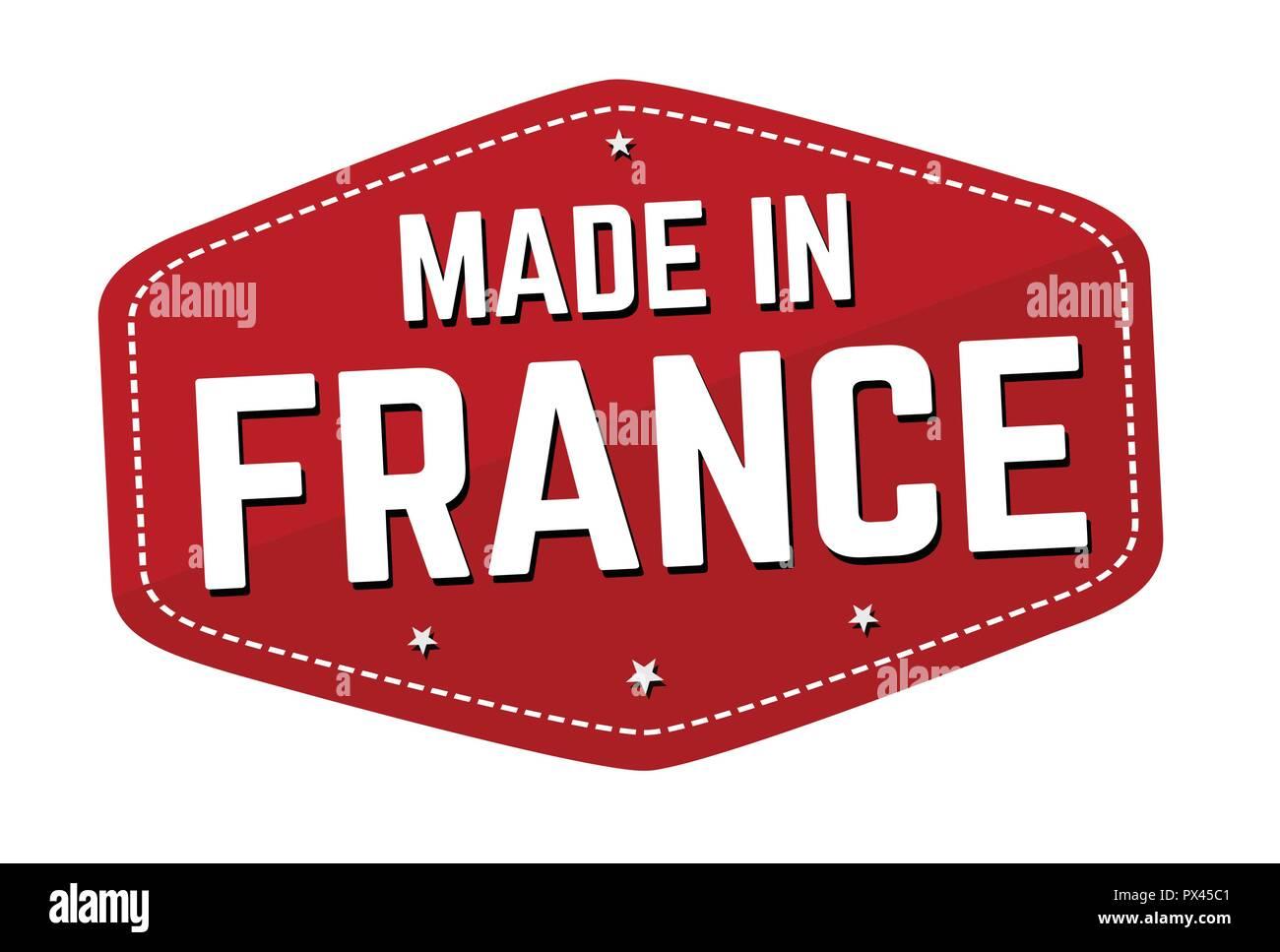 In Frankreich Aufkleber Oder Sticker Auf Weißem Hintergrund