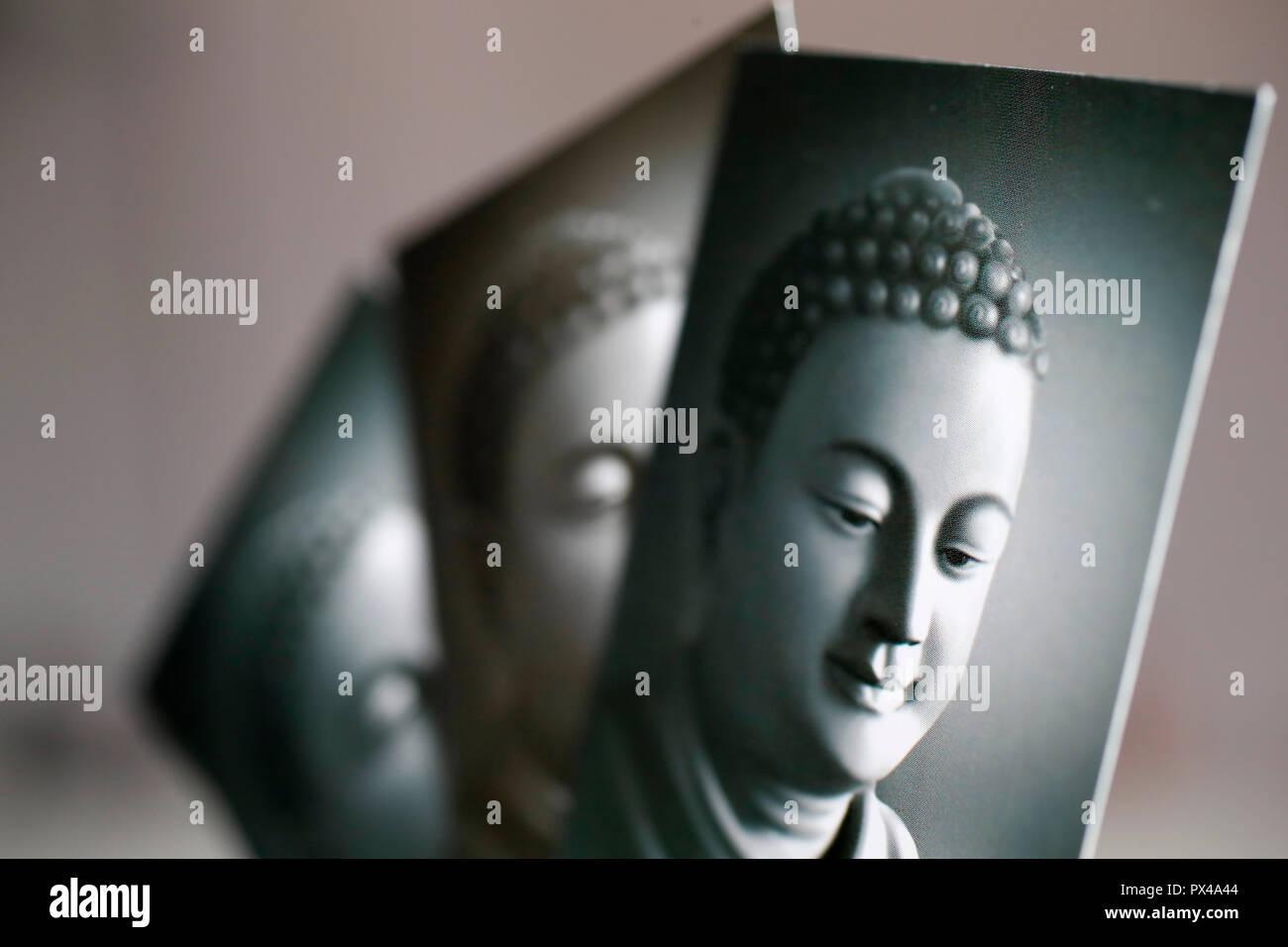 Drei schwarz-weiß Bilder des Buddha. Ho Chi Minh City. Vietnam. Stockbild
