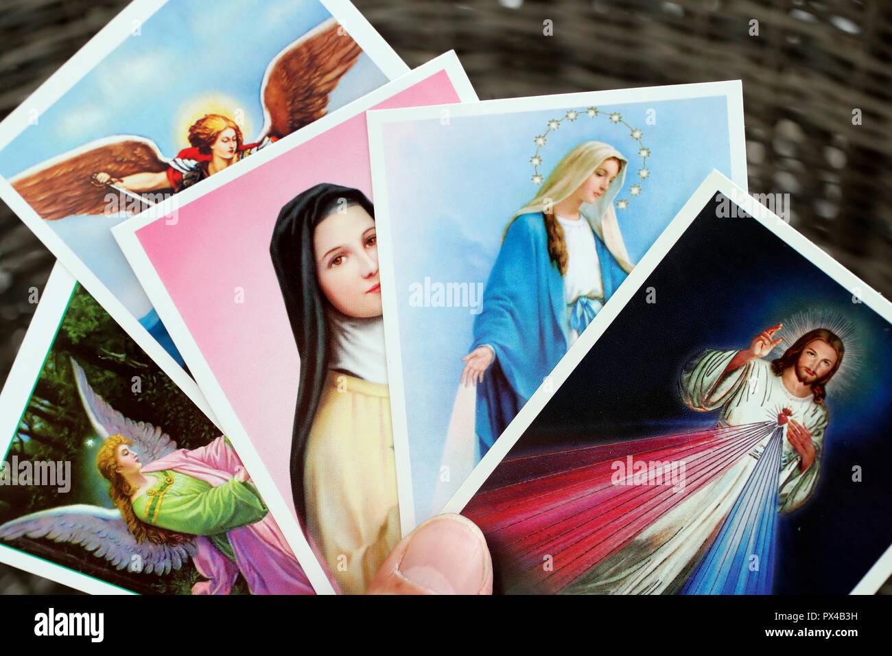 Heilige Bilder: Jesus, Maria, Engel. Stockbild