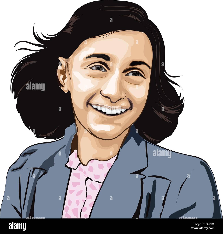 Anne Frank. Annelies Marie Frank, Deutscher (1929-1945). Sie fame posthum mit der Veröffentlichung des Tagebuch eines jungen Mädchens Anne Frank Vektor gewonnen. Stock Vektor
