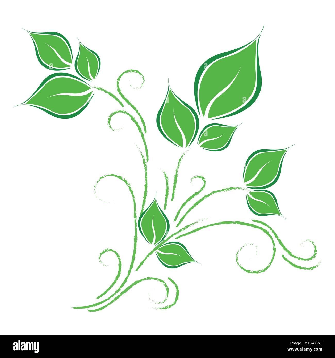 Grüne Blätter Ranke auf weißem Hintergrund Vektor-illustration EPS 10. Stockbild