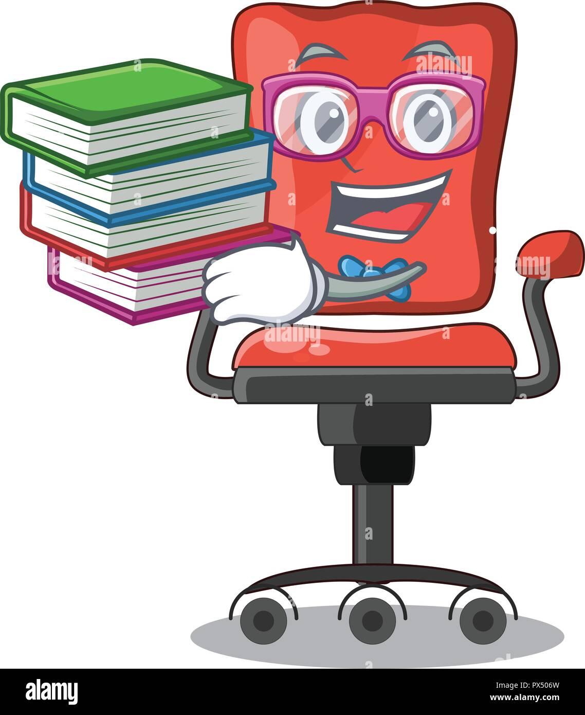 Schuler Mit Buch Schreibtisch Stuhl Buro Auf Maskottchen Isoliert Stock Vektorgrafik Alamy