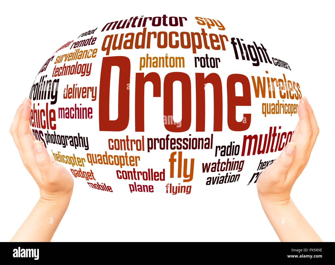 Drone Wort Cloud Hand Kugel Konzept auf weißem Hintergrund. Stockfoto