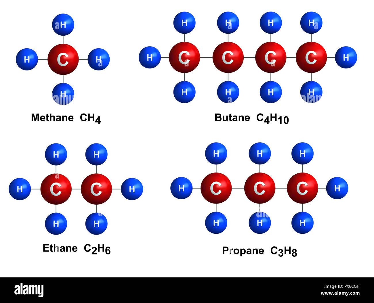 3d Render Der Molekularen Struktur Von Methan Ethan Und Propan