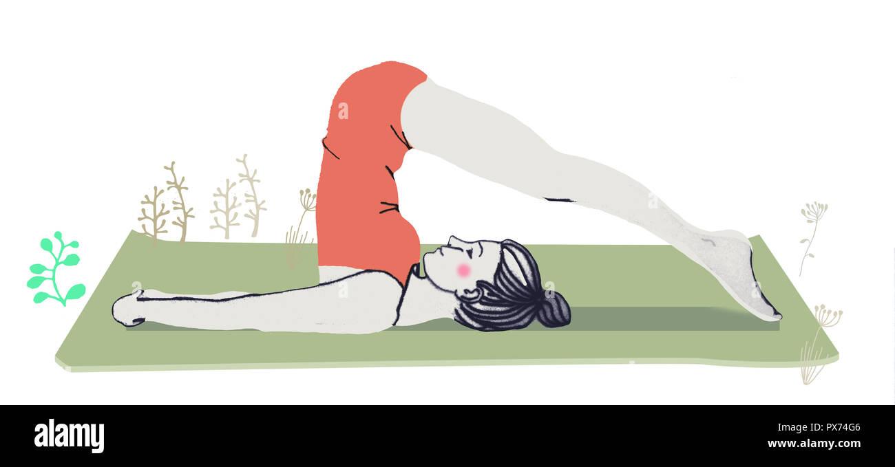 Frau in Yoga Pflug darstellen Stockbild