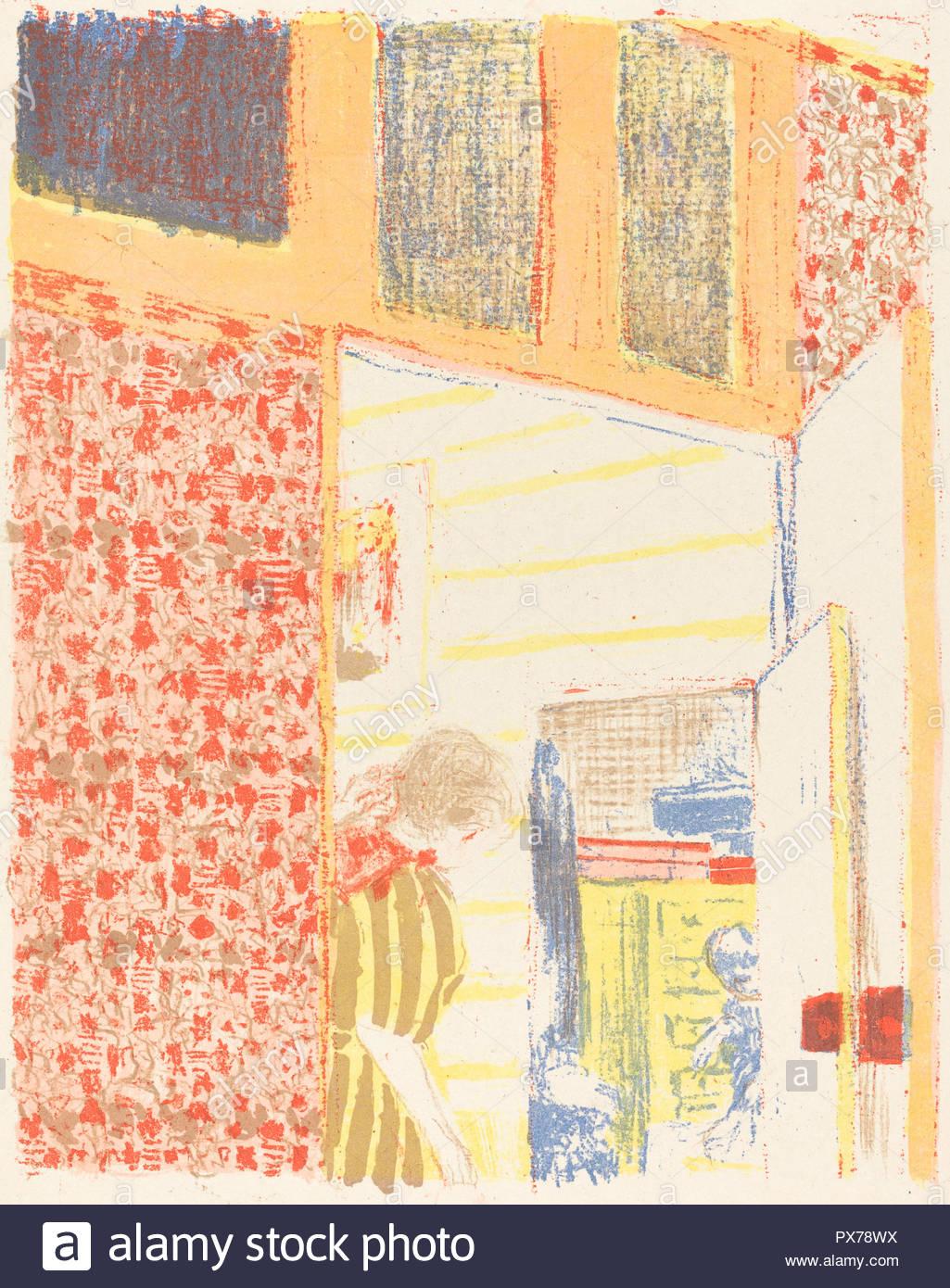 Interieur mit rosa Tapete II (Interieur aux tentures Roses II). Vom: C. 1896 (veröffentlicht 1899). Medium: farblithographie auf China Papier. Museum: Nationalgalerie, Washington DC. Autor: Edouard Vuillard. Stockbild