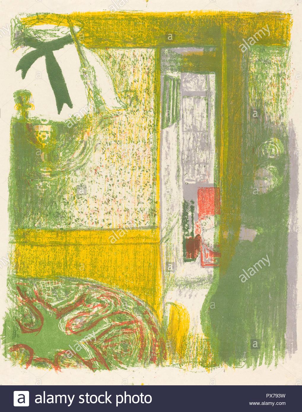 Interieur mit hängenden Lampe (Interieur a la Suspension). Stand: 1899. Medium: farblithographie auf China Papier. Museum: Nationalgalerie, Washington DC. Autor: Edouard Vuillard. Stockbild