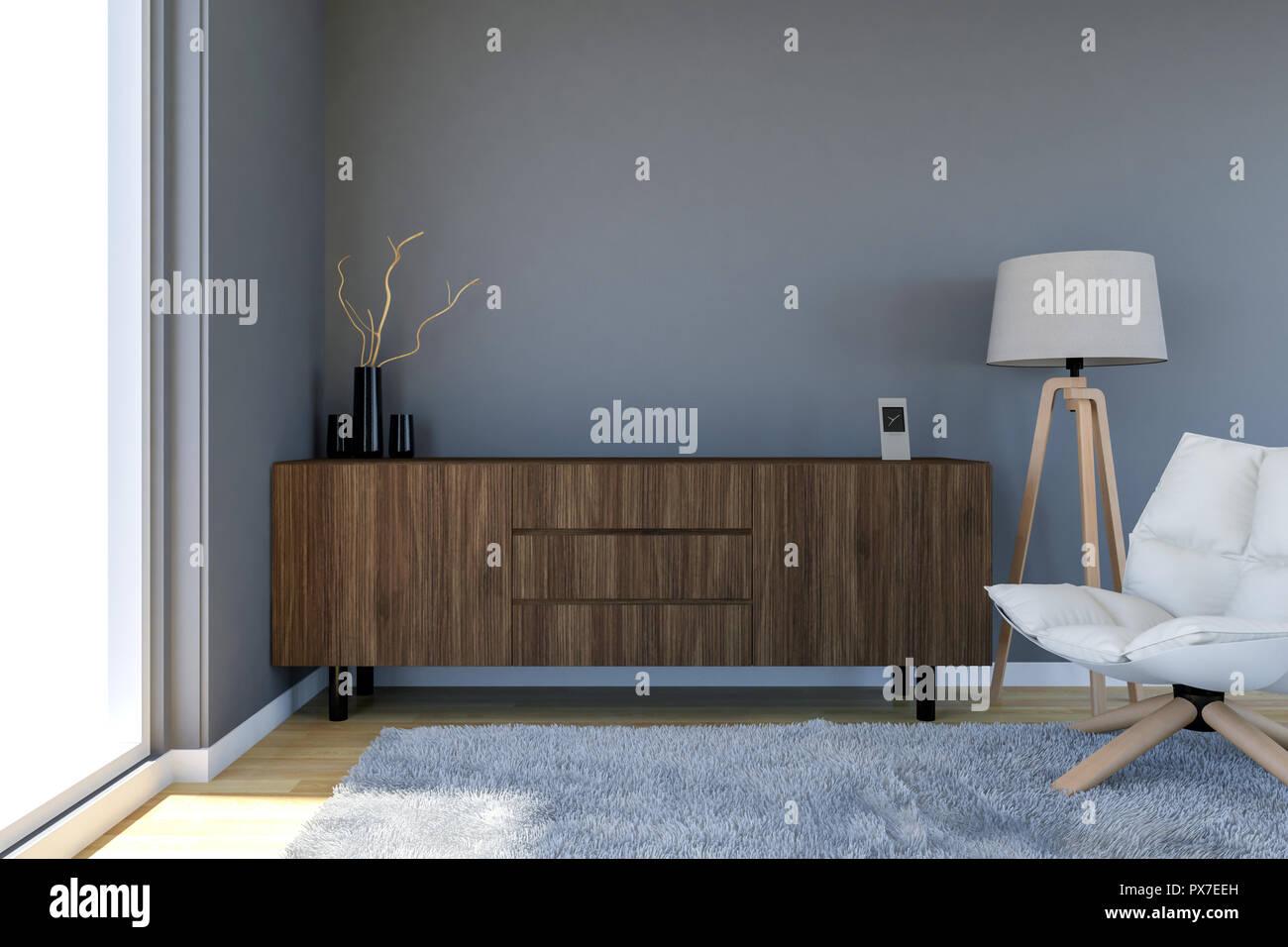 Moderne Wohnzimmer Interieur mit grauen Wand und große ...