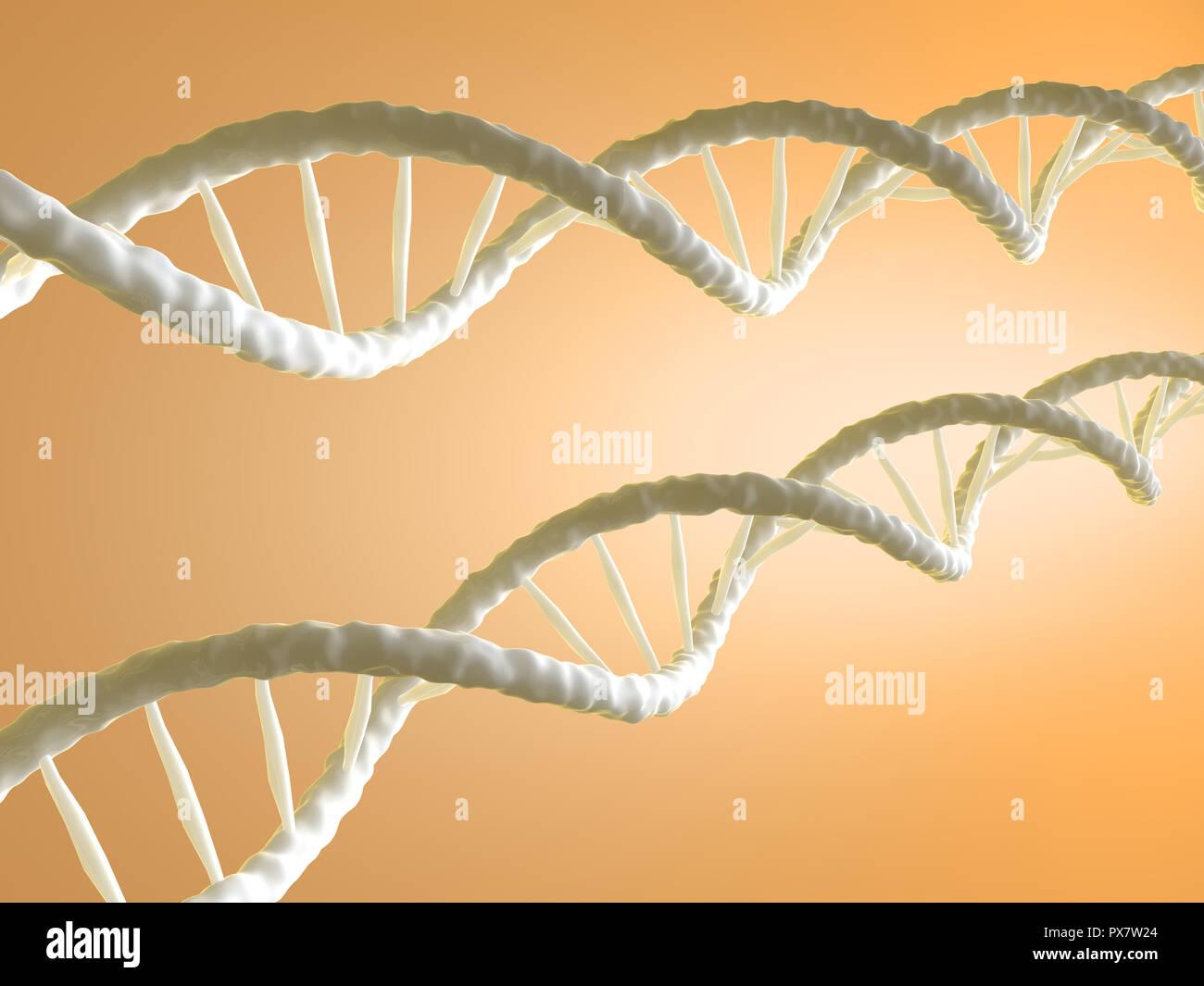 DNA-Strang - 3d auf gelben Hintergrund dargestellt Stockbild