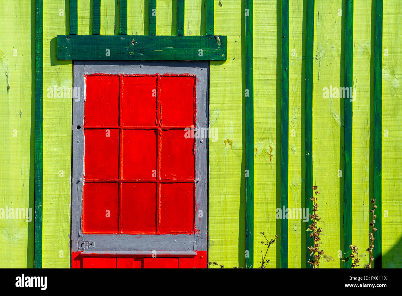Die Auster Hütten von Saint-Trojan-les-Bains einige Galerien Künstler', Insel Oleron, Charente Maritime, Nouvelle-Aquitaine, Frankreich Stockbild