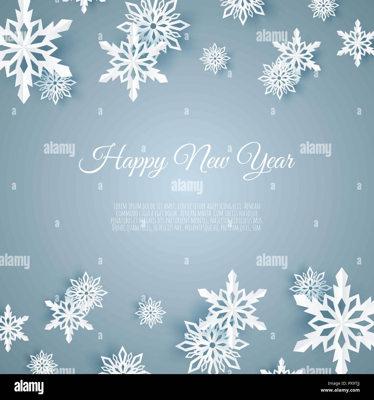 Weihnachtskarte Mit Papier Schneeflocke Fallende Schneeflocken Auf