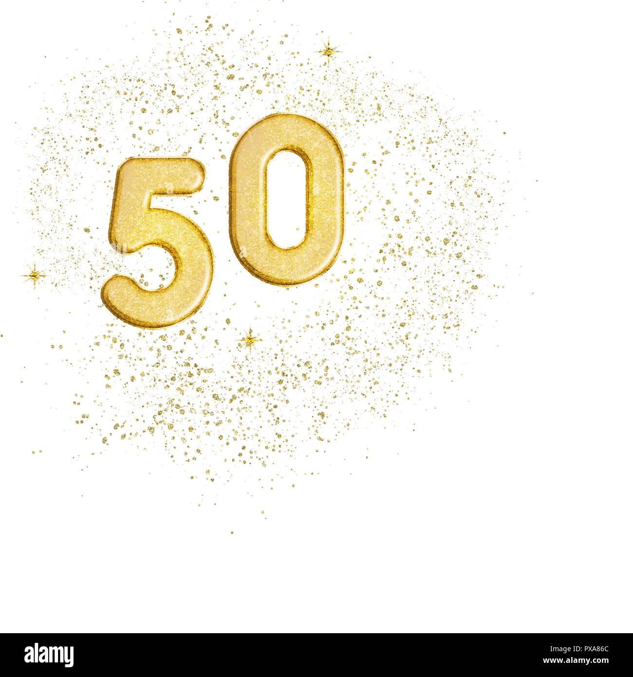 Goldene Zahl 50 50 Auf Weissem Hintergrund Ideal 50 Hochzeitstag