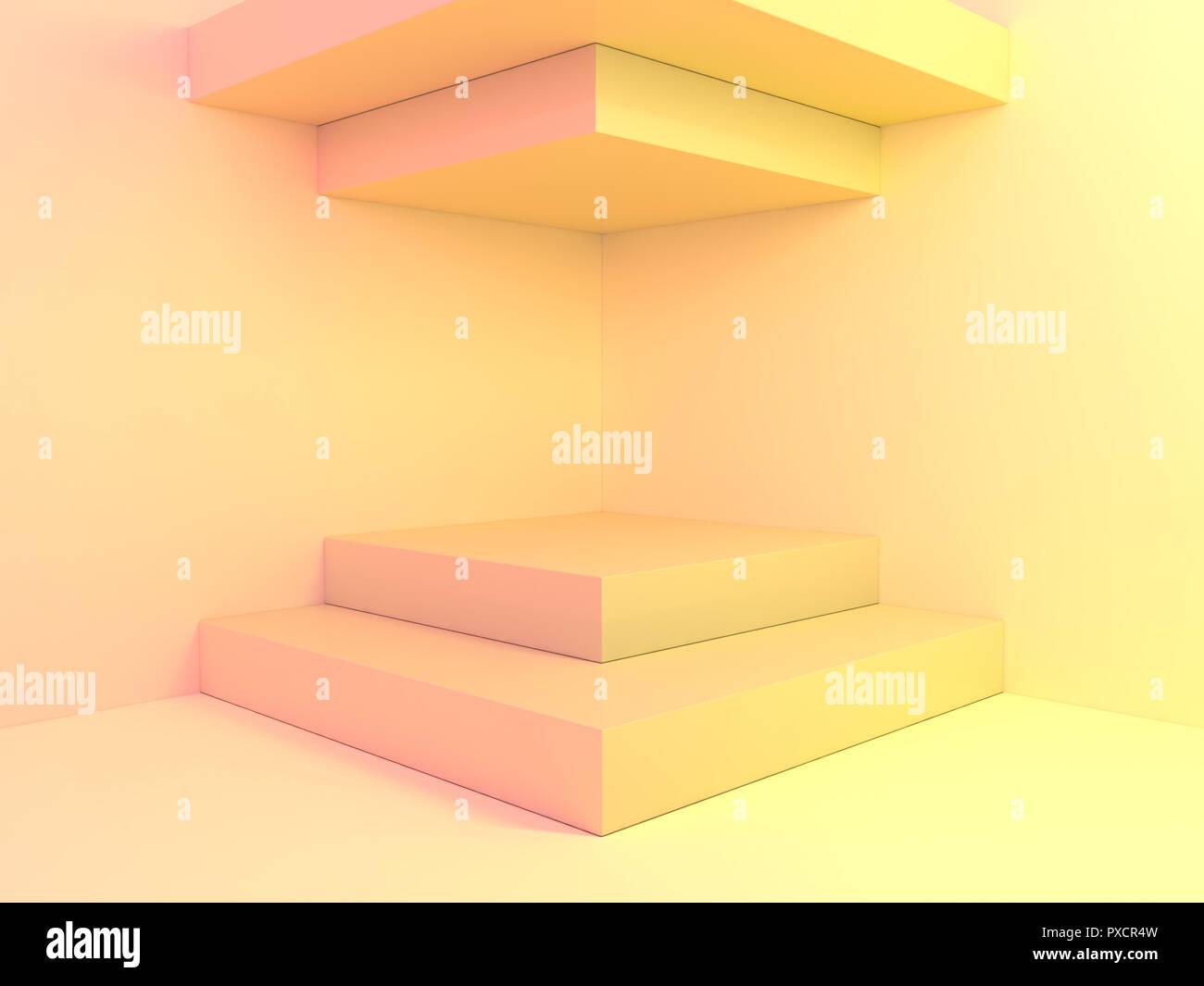 Schöne Wand und leere Podium. 3D-Rendering Stockfoto, Bild ...