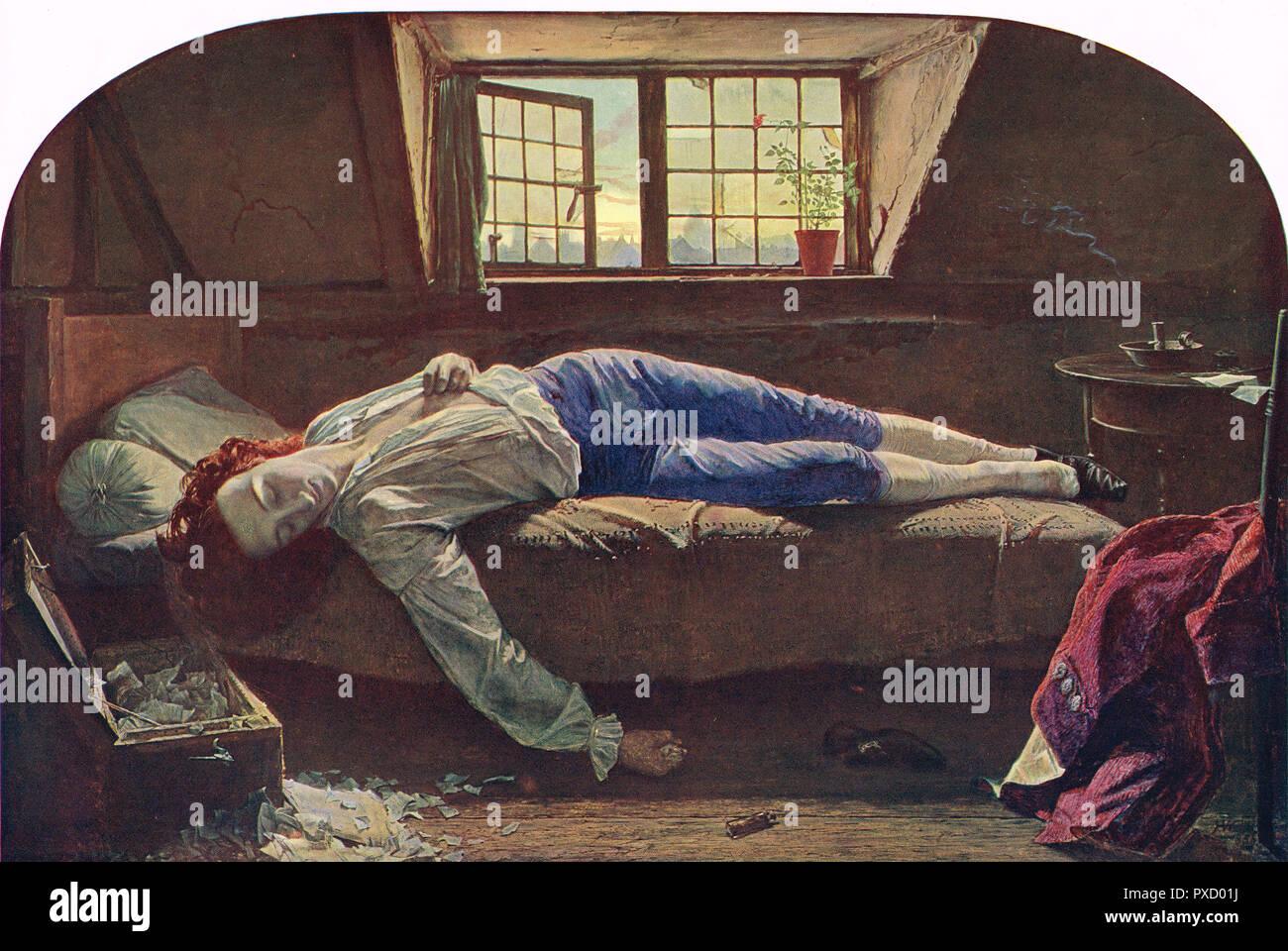 Der Tod von Chatterton, von Henry Wallis (1830-1916) Stockbild