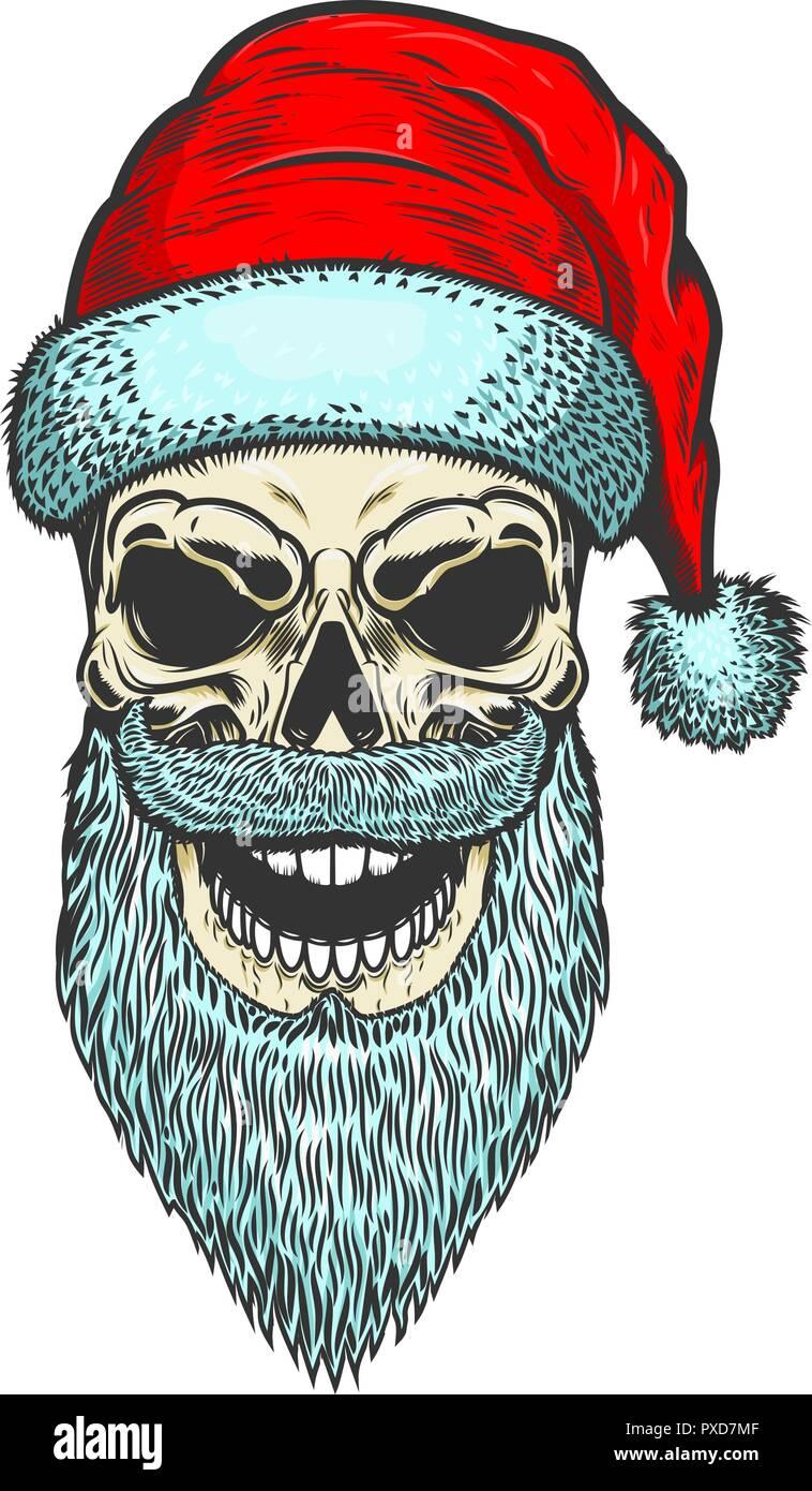 Santa Claus Schädel auf weißem Hintergrund. Thema Weihnachten ...
