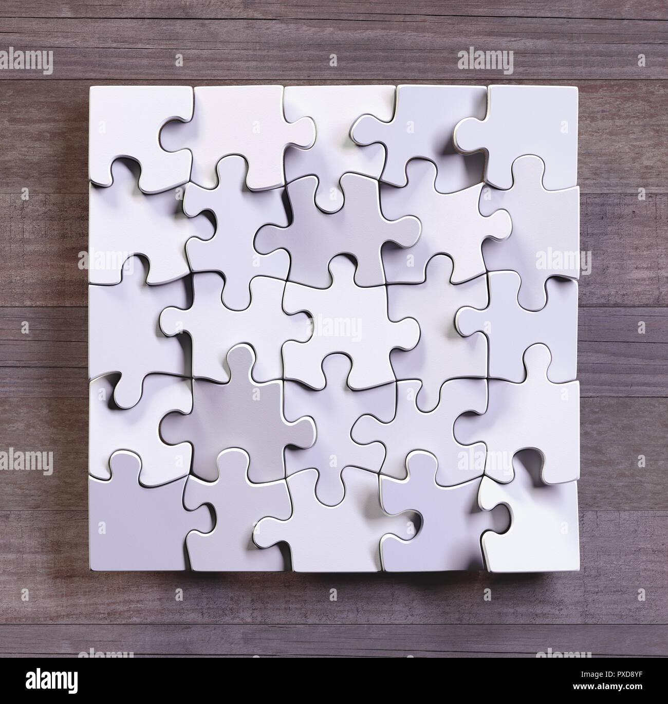 Leere Puzzle Im Quadratischen Format Mit Holz Hintergrund Konzept