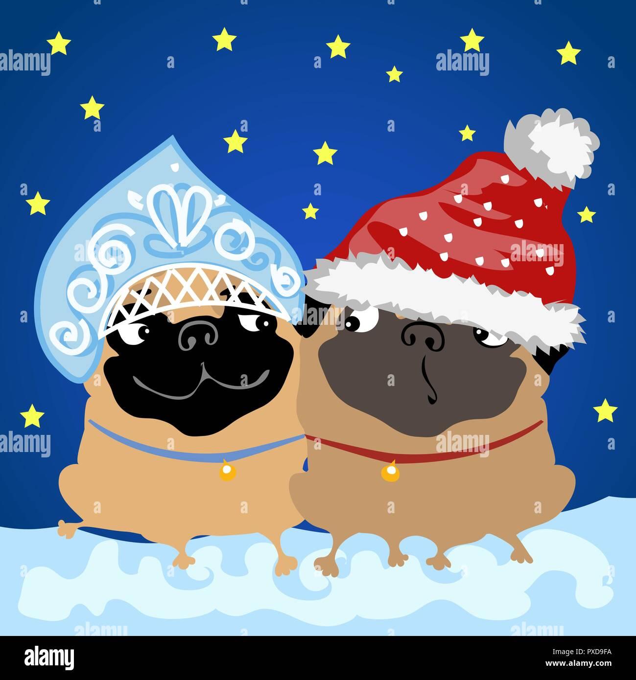 Zwei Mops hunde in Weihnachten Kostüme Santa Claus und snow Maiden ...