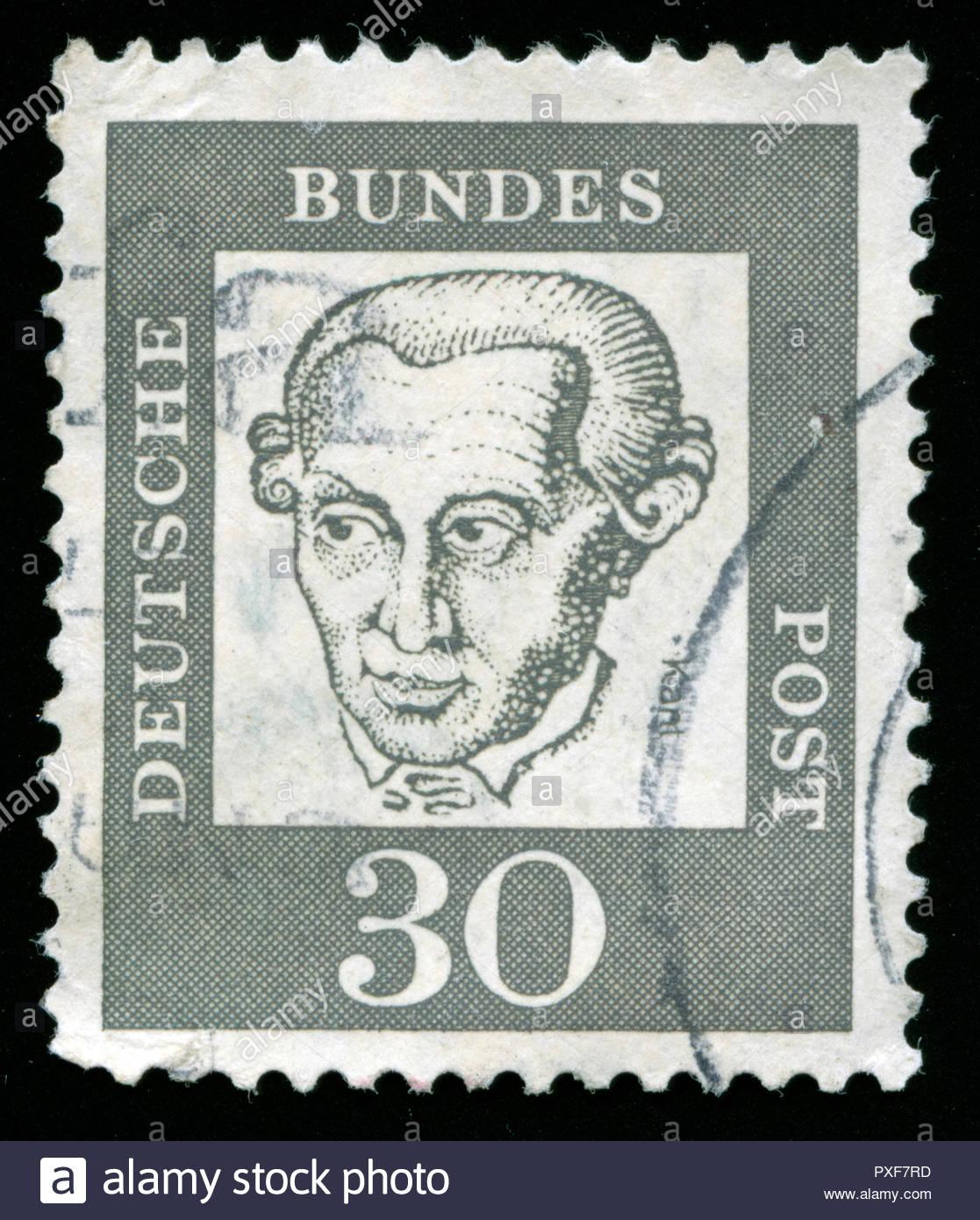 Poststempel Stempel aus der Bundesrepublik Deutschland in der hervorragenden deutschen Serie Stockbild