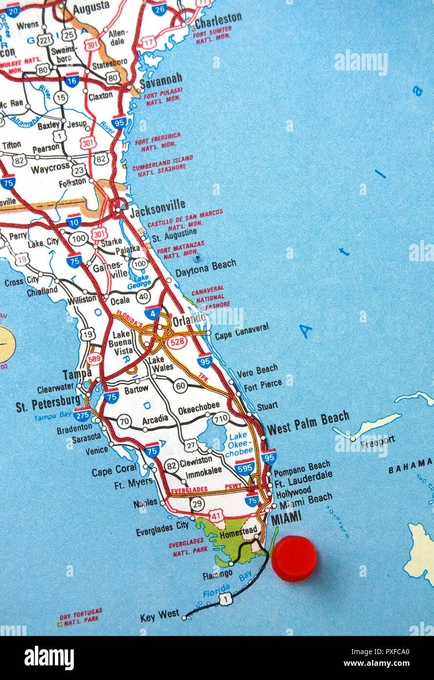 Karte Florida Miami.Karte Von Florida Mit Miami Mit Einem Roten Punkt